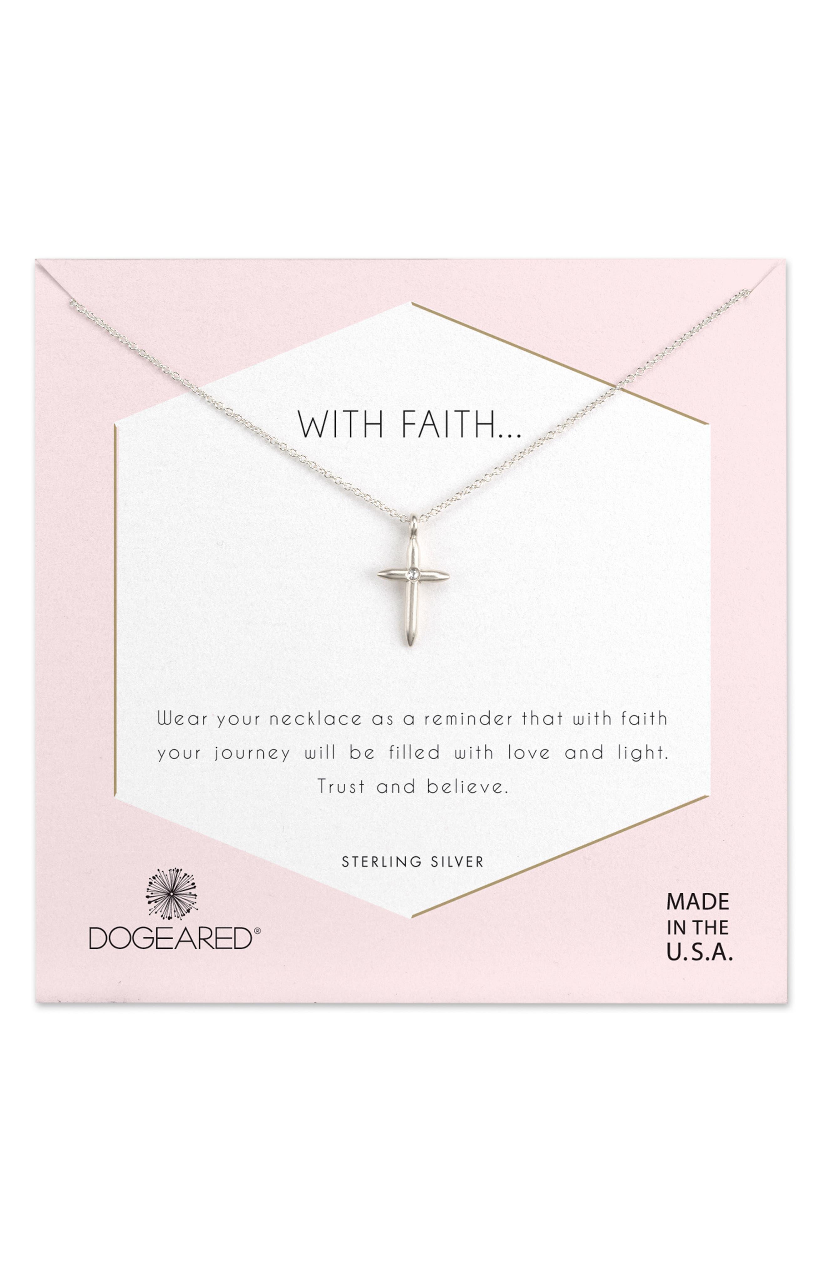 Faith Cross Necklace,                         Main,                         color, 040