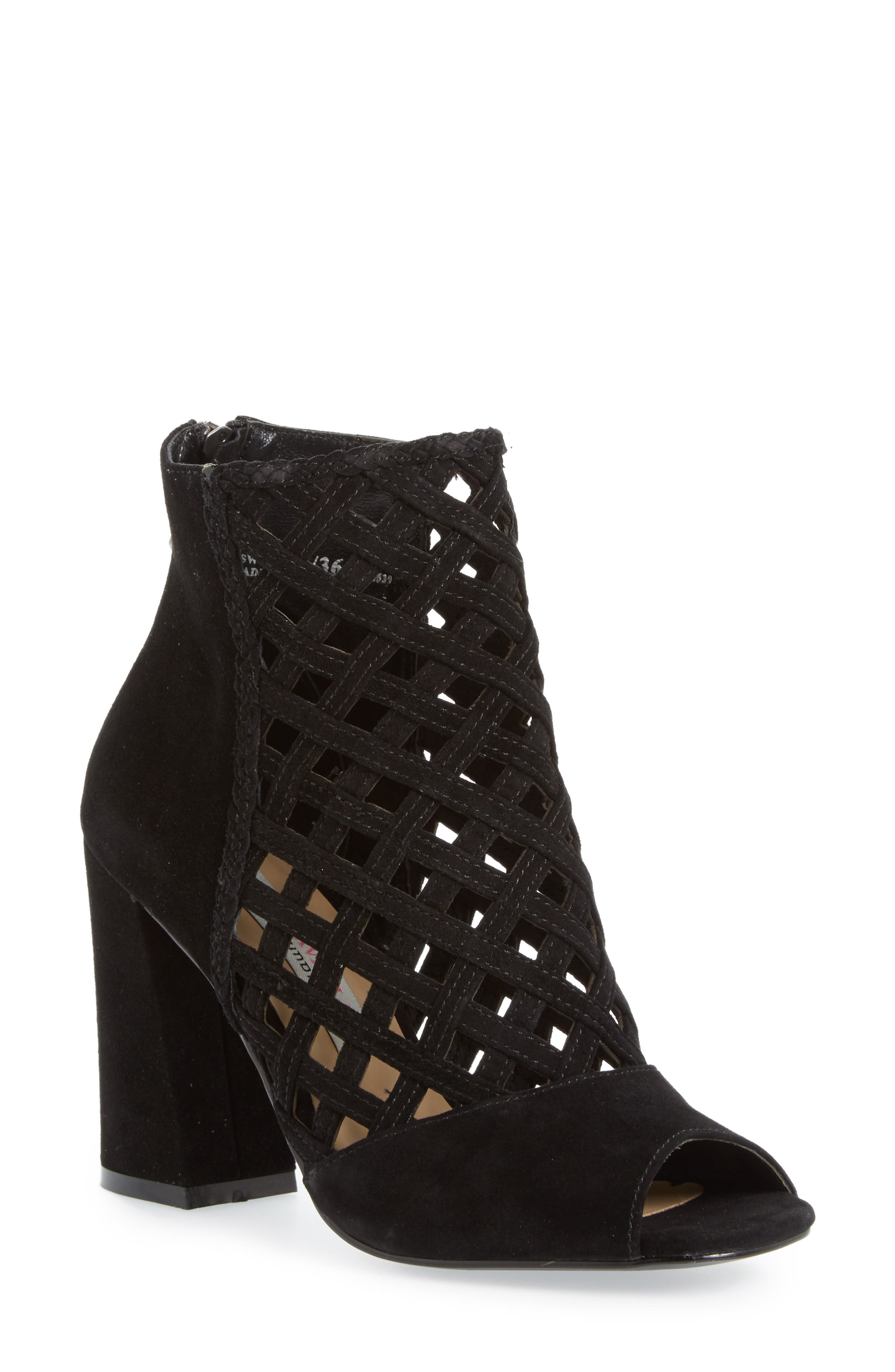 Luxembourg Cage Peep Toe Bootie,                             Main thumbnail 1, color,                             001