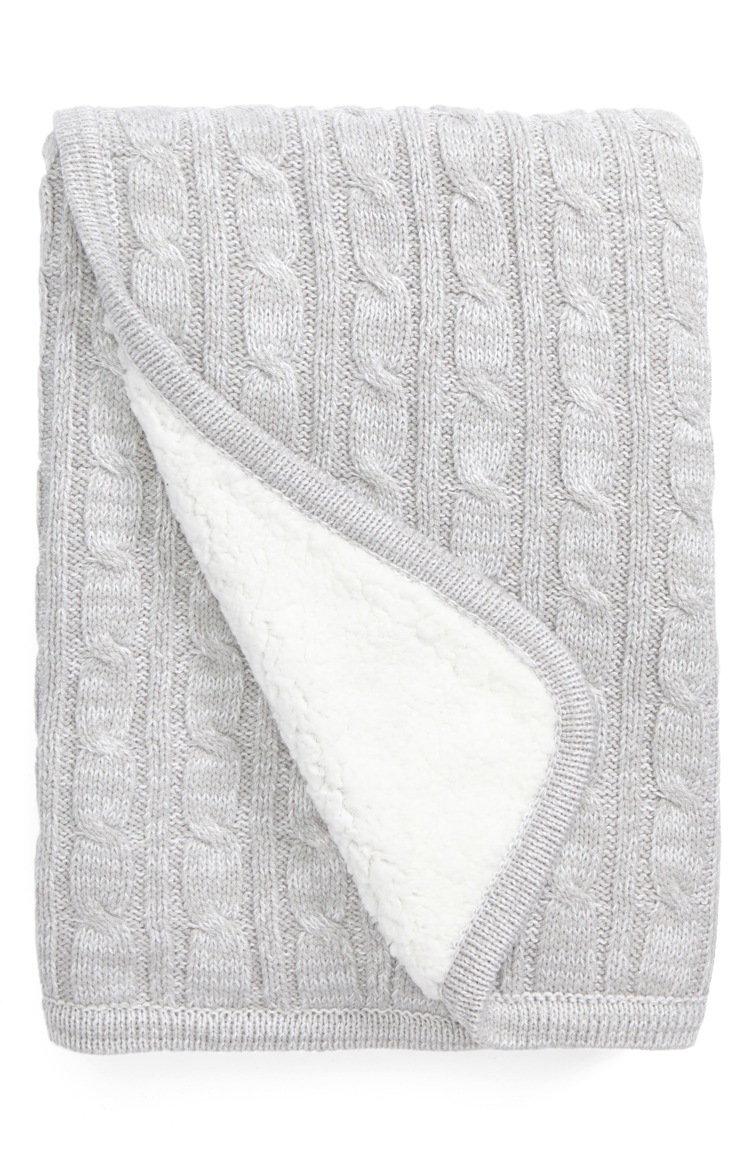 Cable Knit Blanket,                             Main thumbnail 1, color,                             050
