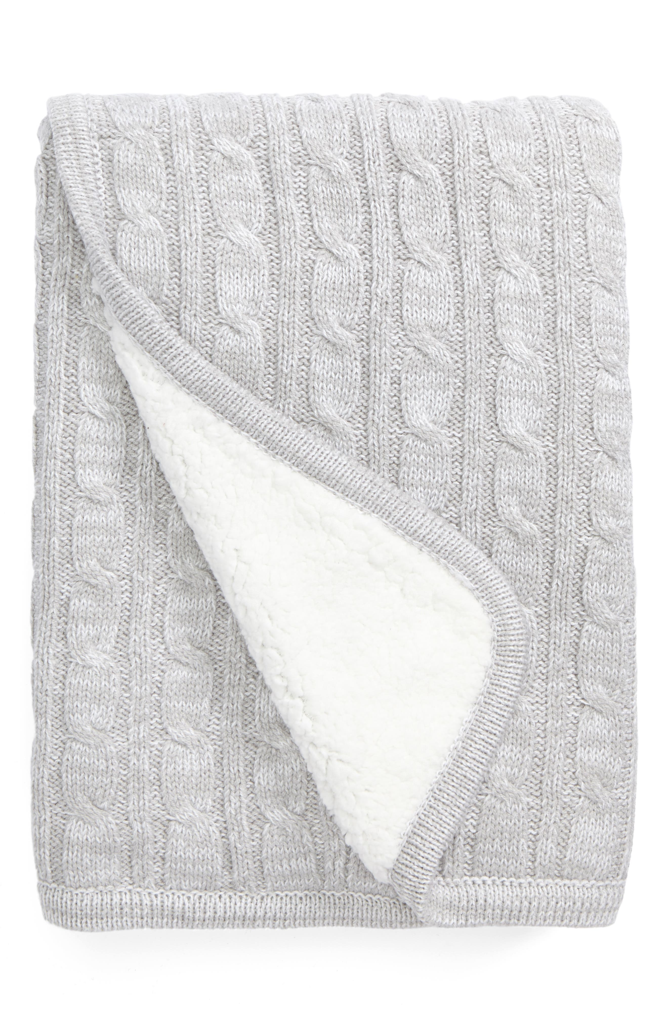 Cable Knit Blanket,                         Main,                         color, 050