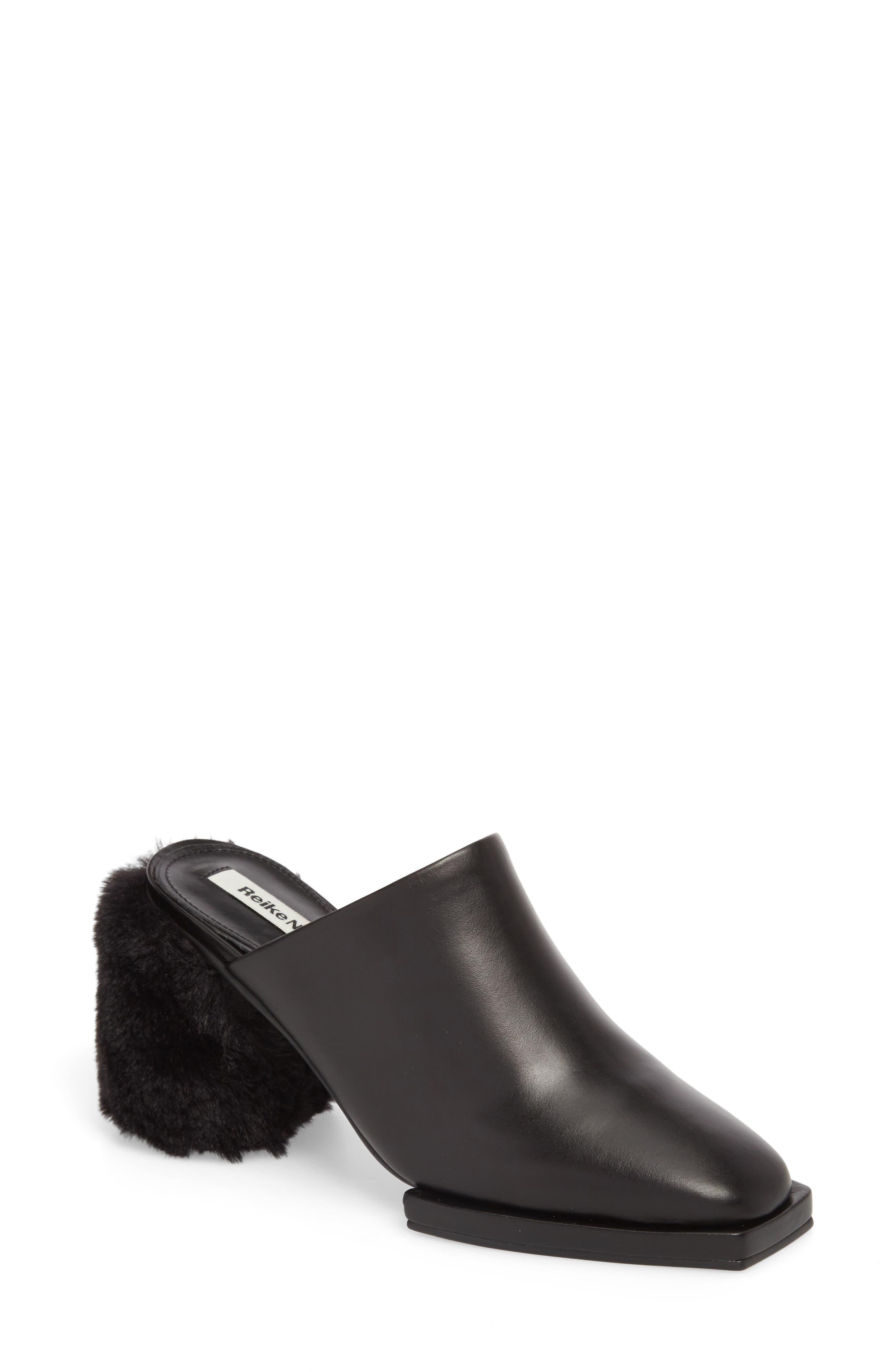 Faux Fur Block Heel Mule,                         Main,                         color, BLACK