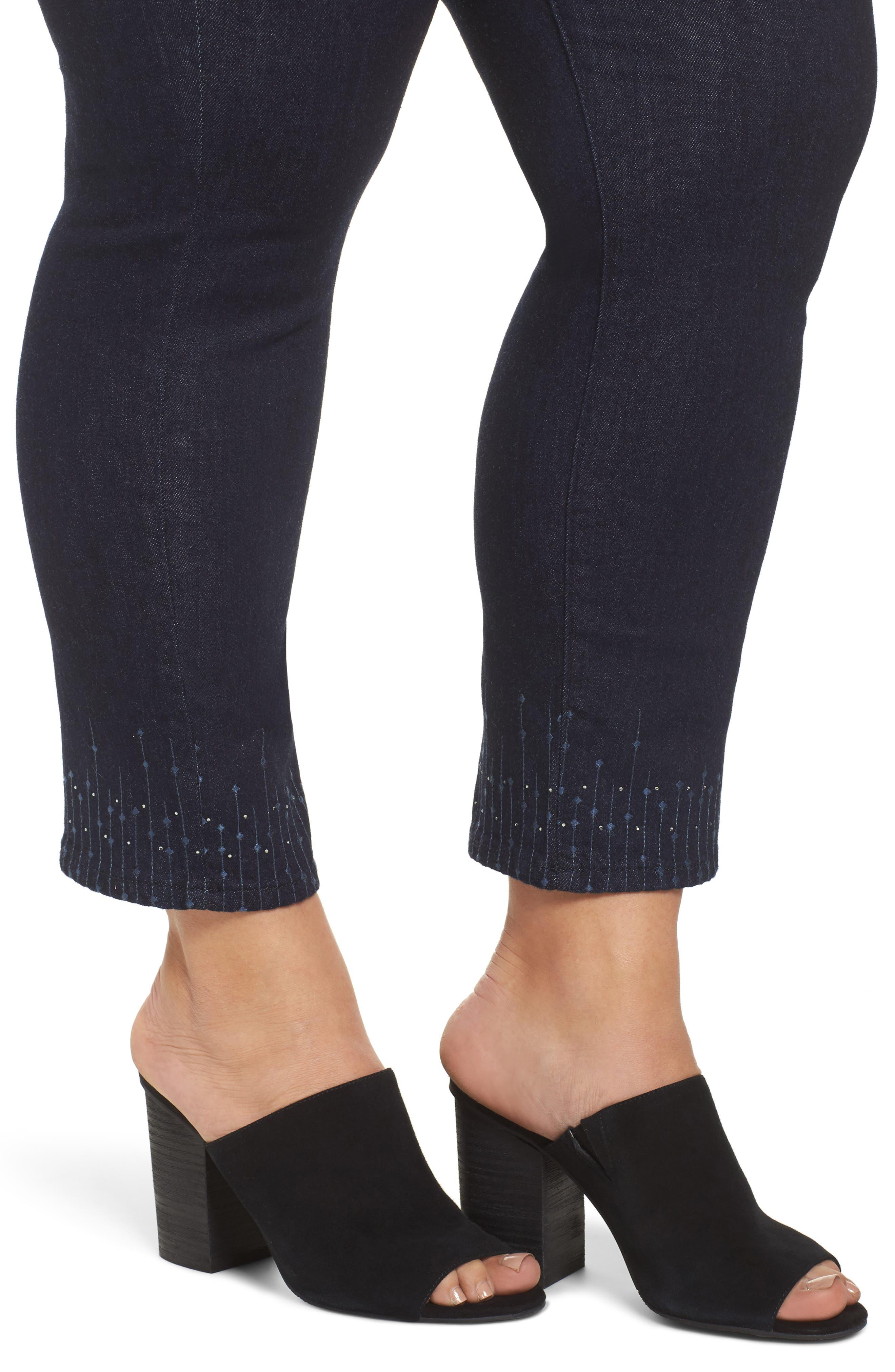 Sheri Bling Hem Stretch Ankle Skinny Jeans,                             Alternate thumbnail 4, color,                             408