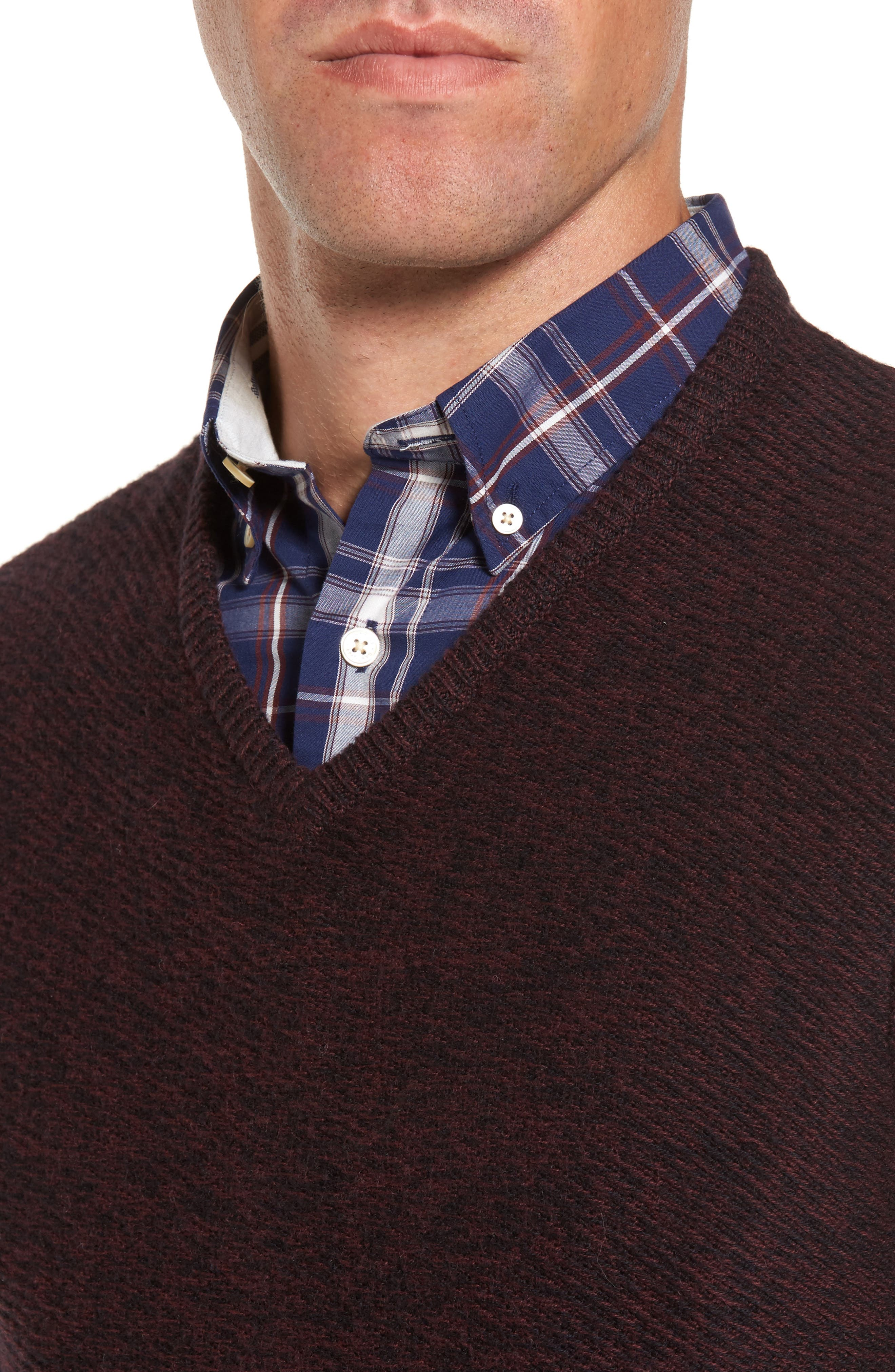 Cotton & Cashmere V-Neck Sweater,                             Alternate thumbnail 8, color,