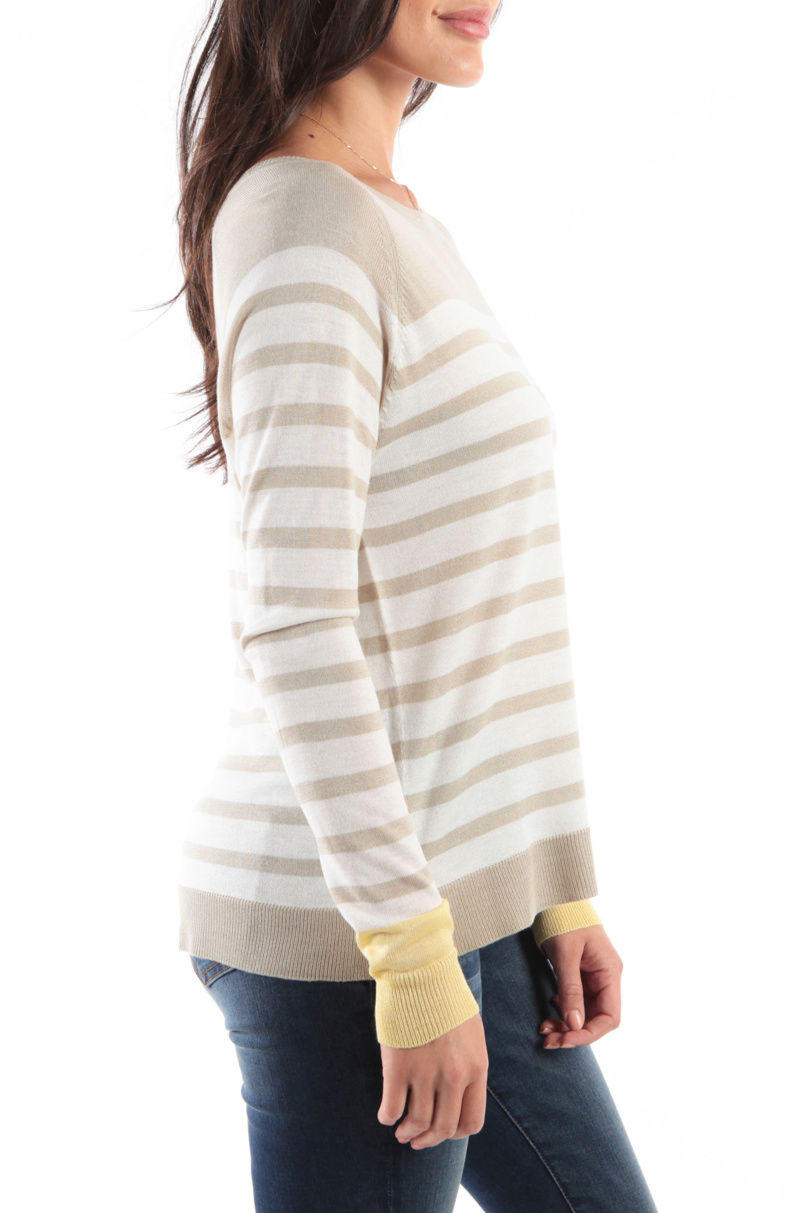 KUT FROM THE KLOTH,                             Bianka Stripe Sweater,                             Alternate thumbnail 3, color,                             OATMEAL/ OFF WHITE