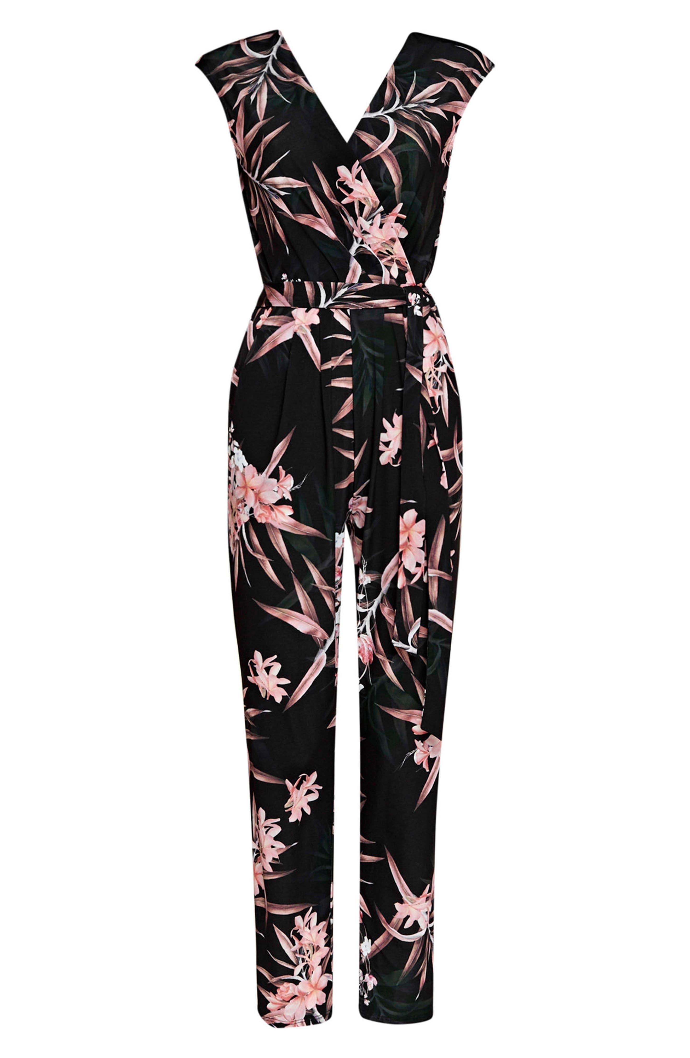 Fern Floral Jersey Jumpsuit,                             Alternate thumbnail 4, color,                             001