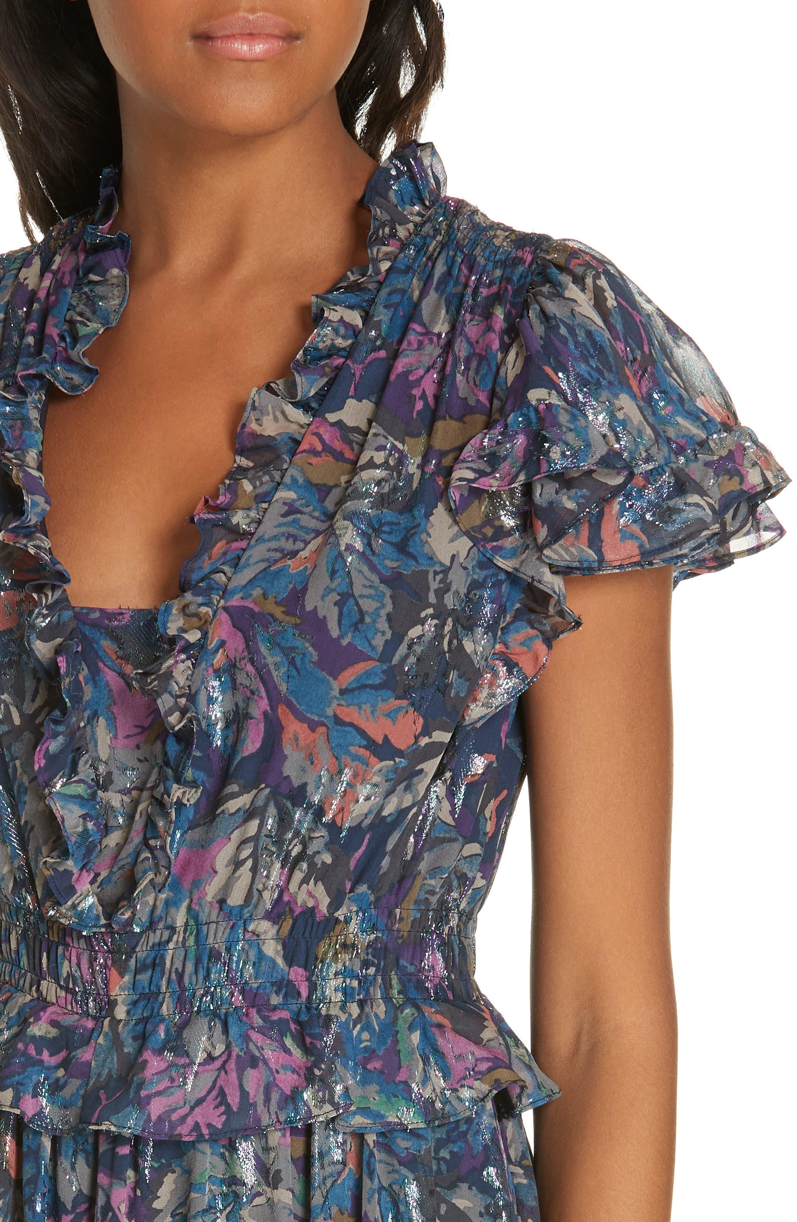 Giverney Fleur Dress,                             Alternate thumbnail 4, color,                             AMETHYST COMBO