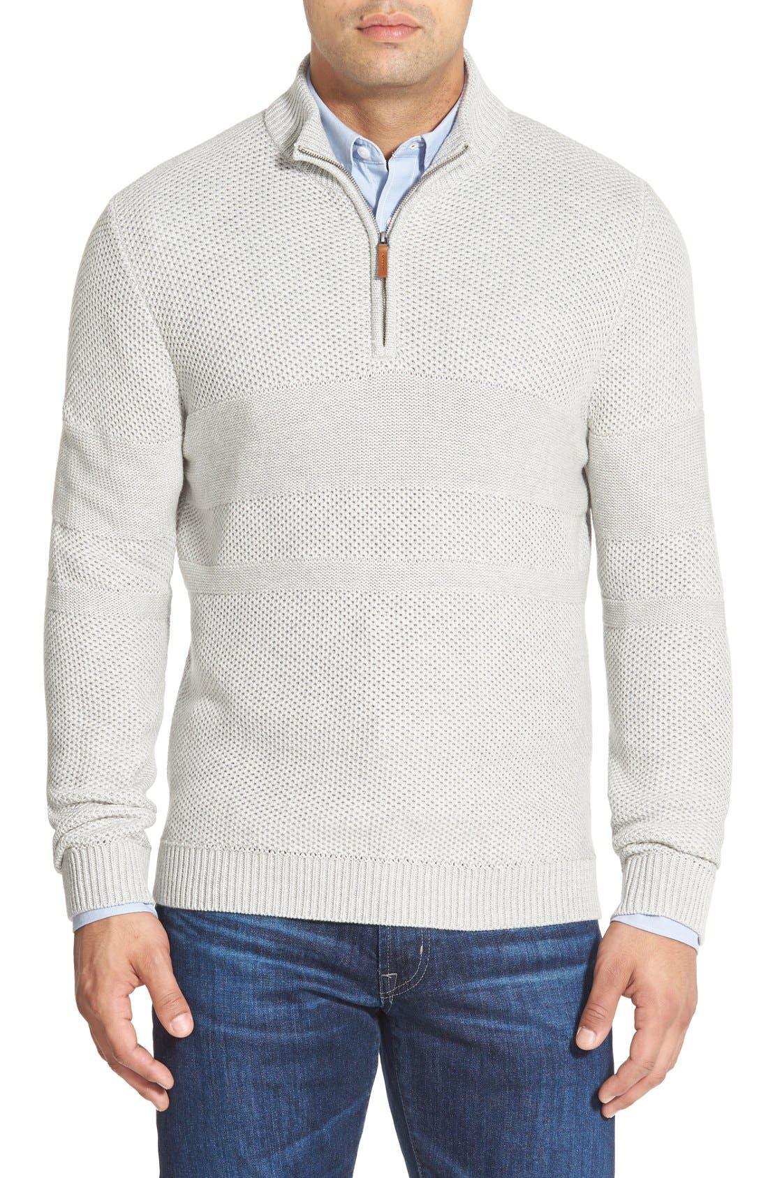 Texture Cotton & Cashmere Quarter Zip Sweater,                             Main thumbnail 1, color,                             050