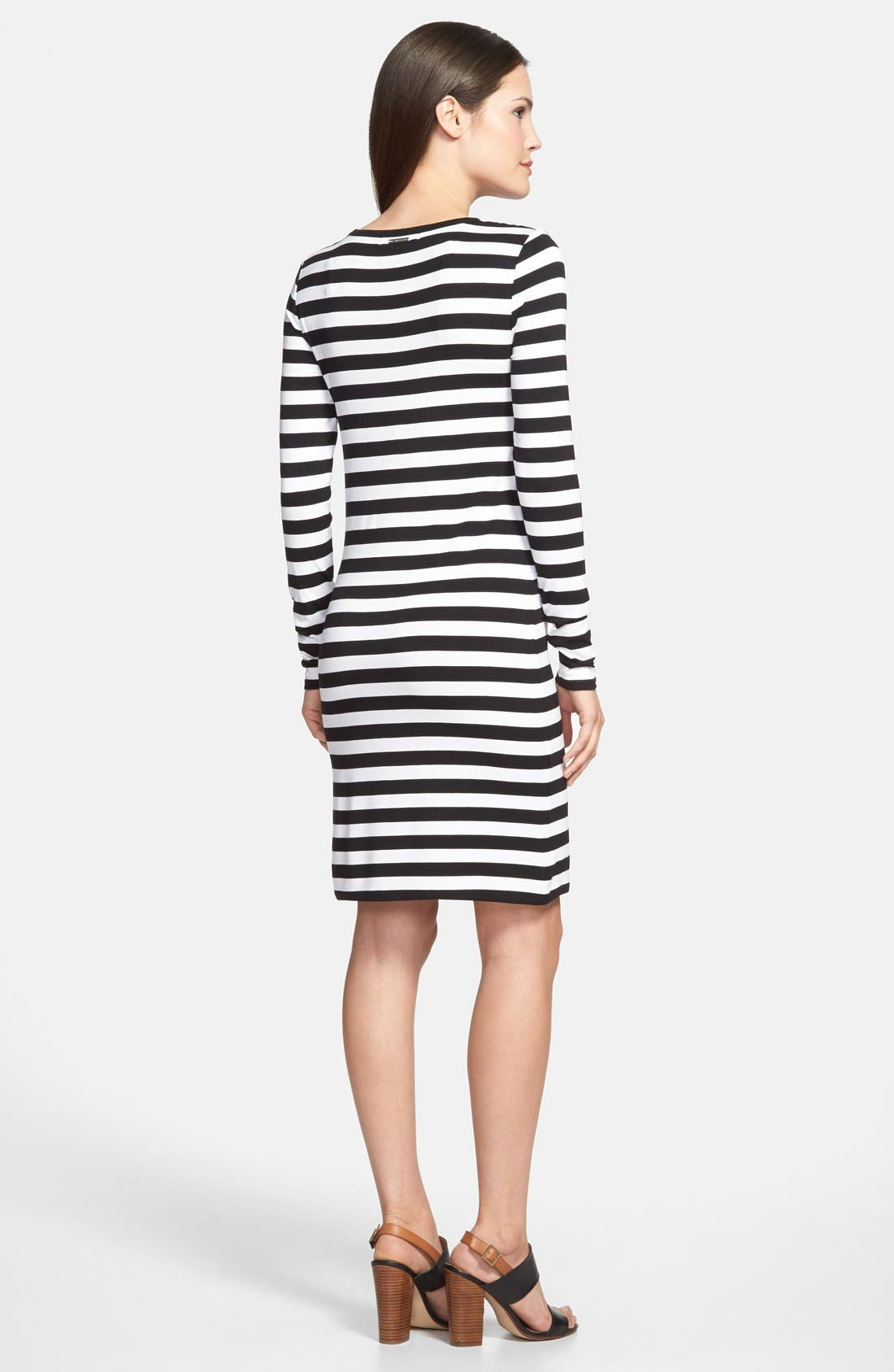 Stripe Long Sleeve Dress,                             Alternate thumbnail 3, color,                             001
