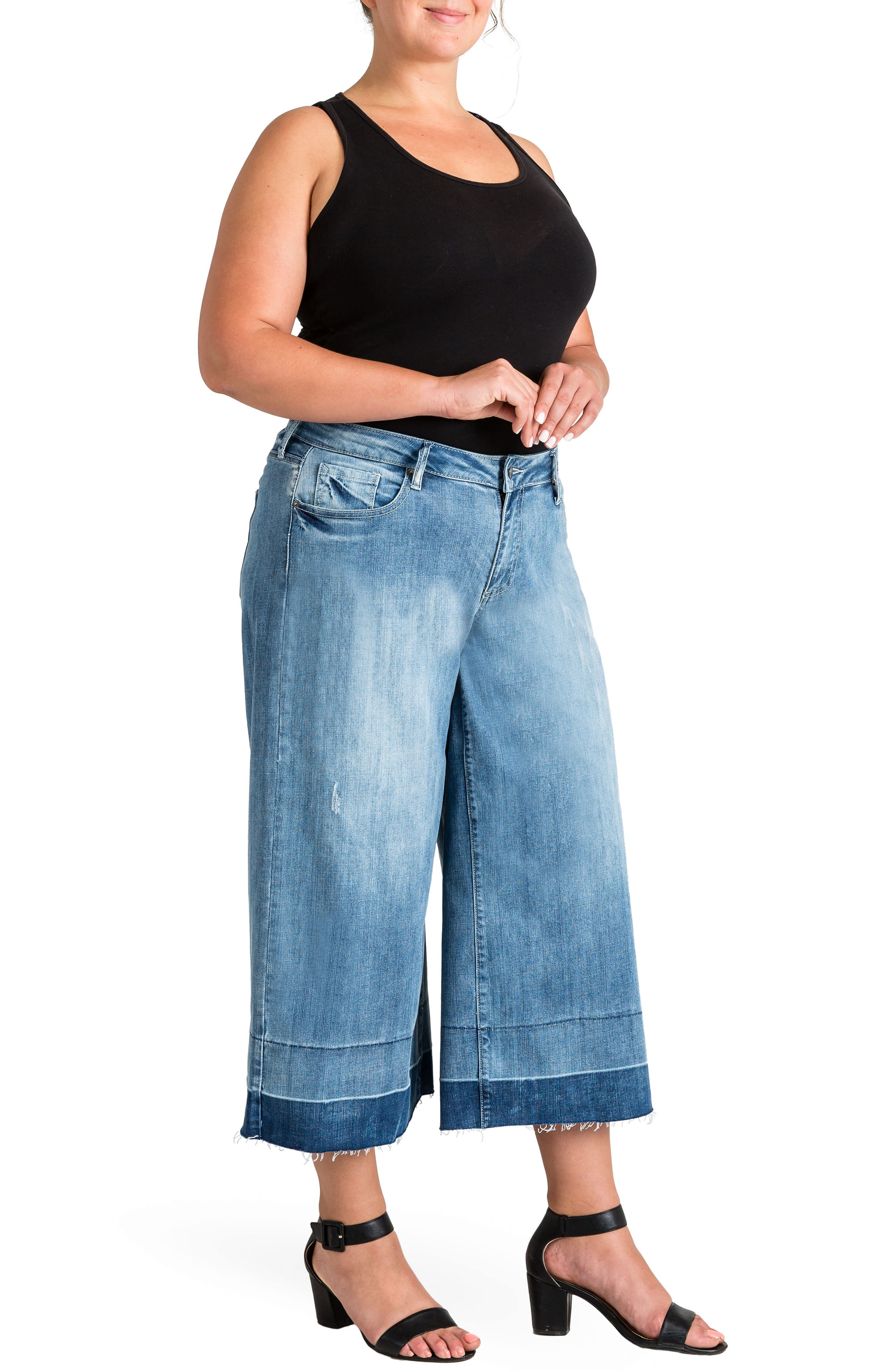 Release Hem Denim Culottes,                             Alternate thumbnail 4, color,                             SPRUCE