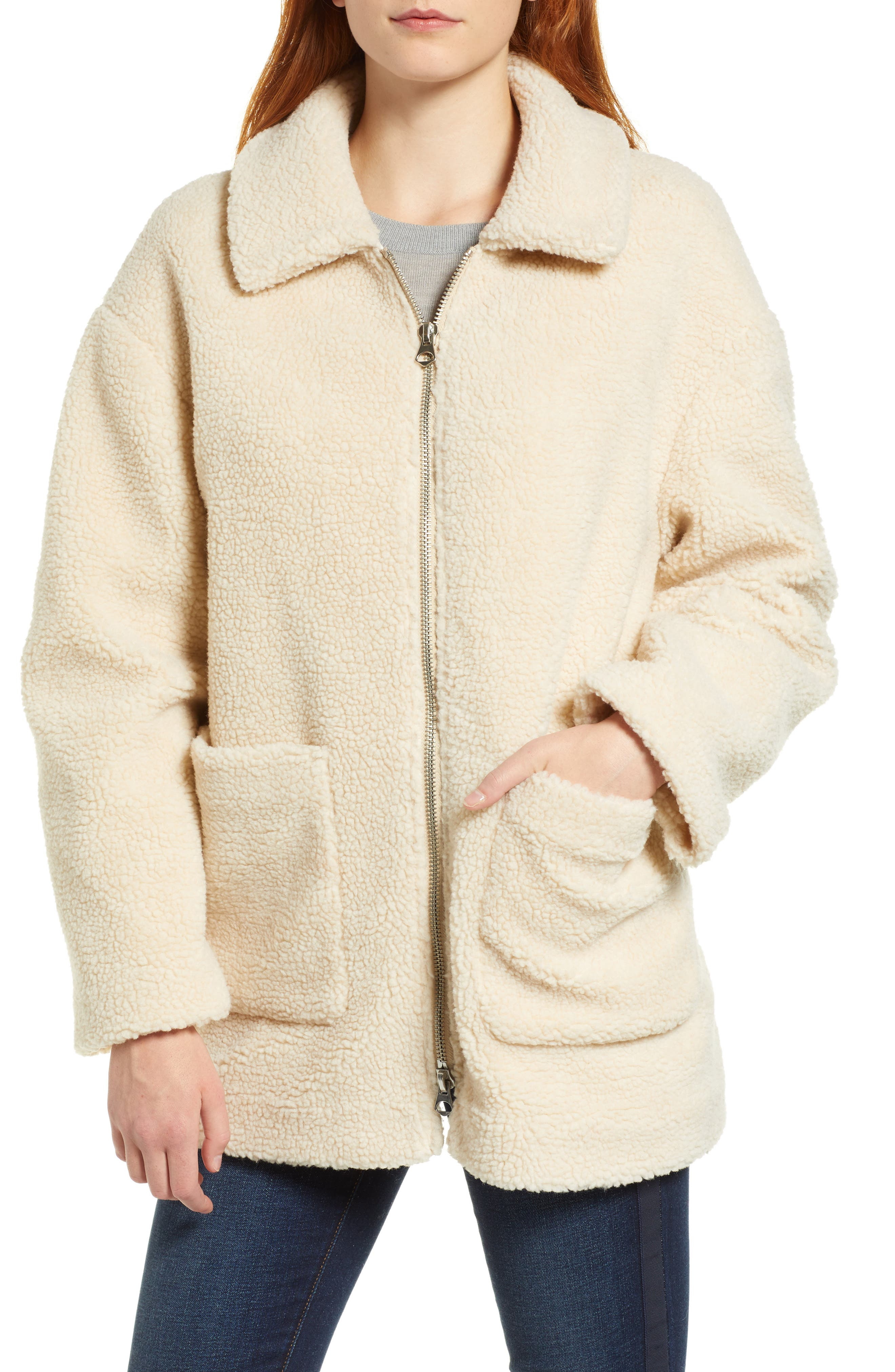 Zip Front Teddy Coat,                             Alternate thumbnail 4, color,                             IVORY