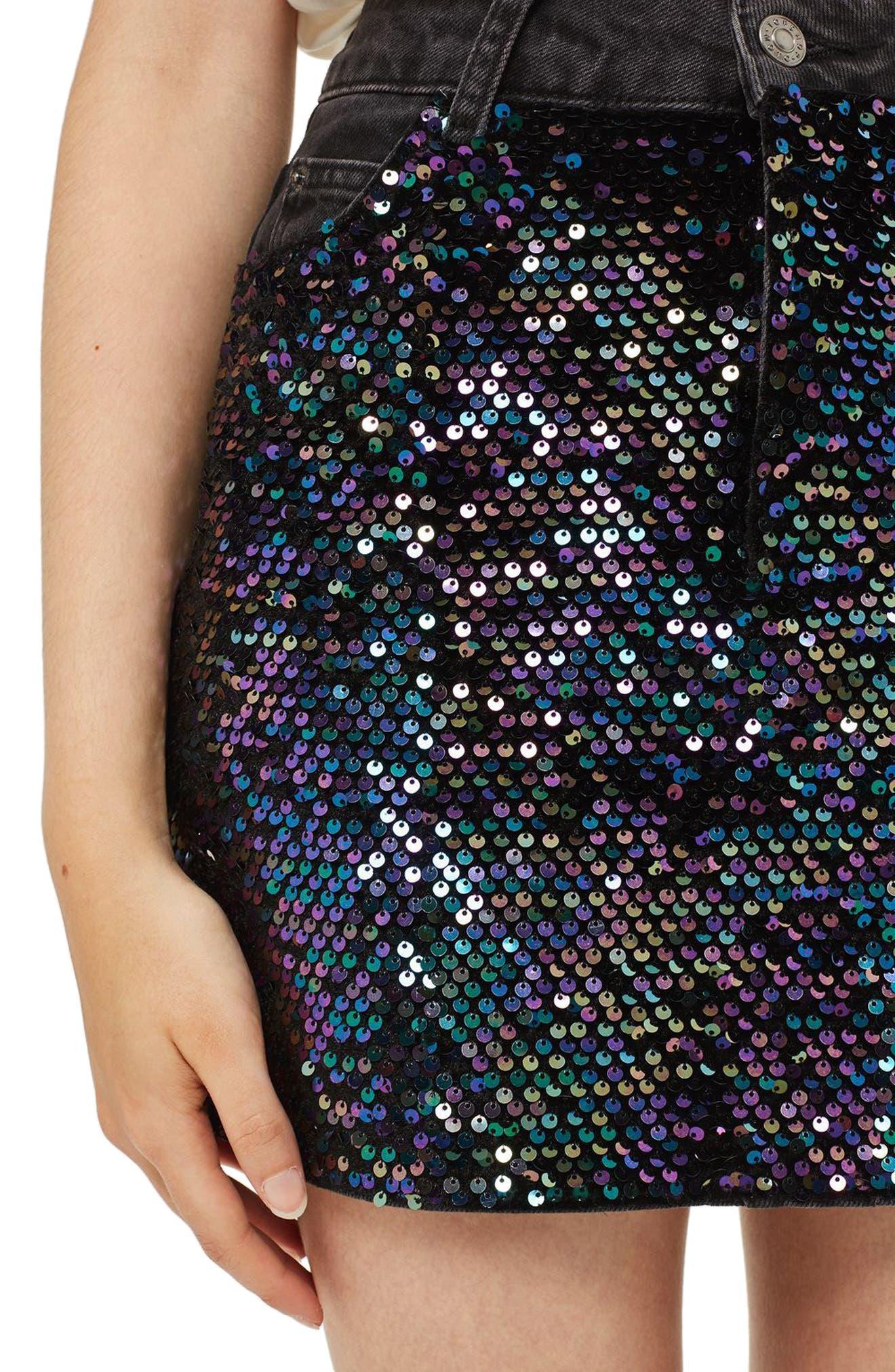 Beetle Sequin Denim Miniskirt,                             Alternate thumbnail 3, color,