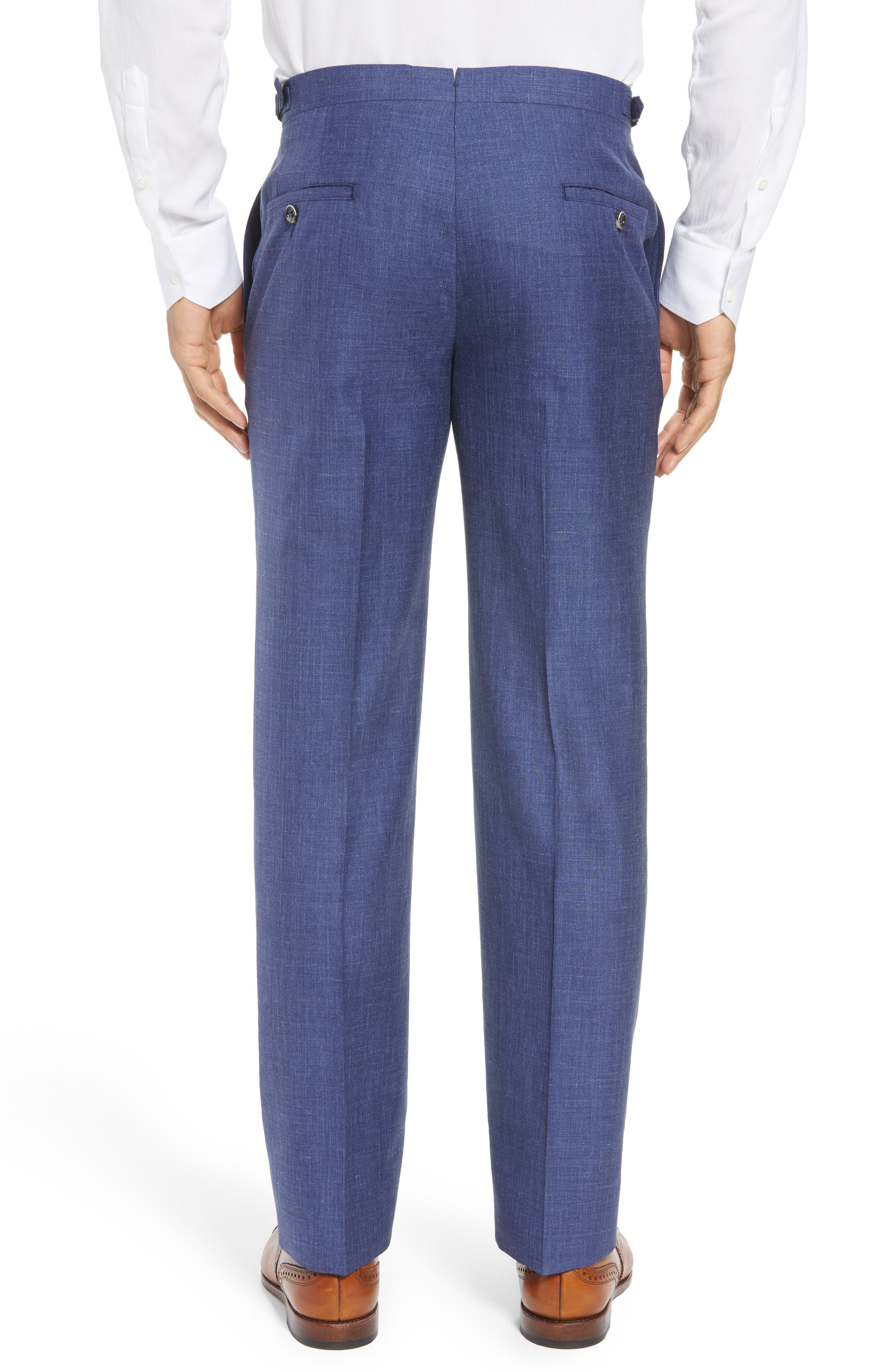 B Fit Flat Front Solid Wool Blend Trousers,                             Alternate thumbnail 2, color,                             BLUE SOLID