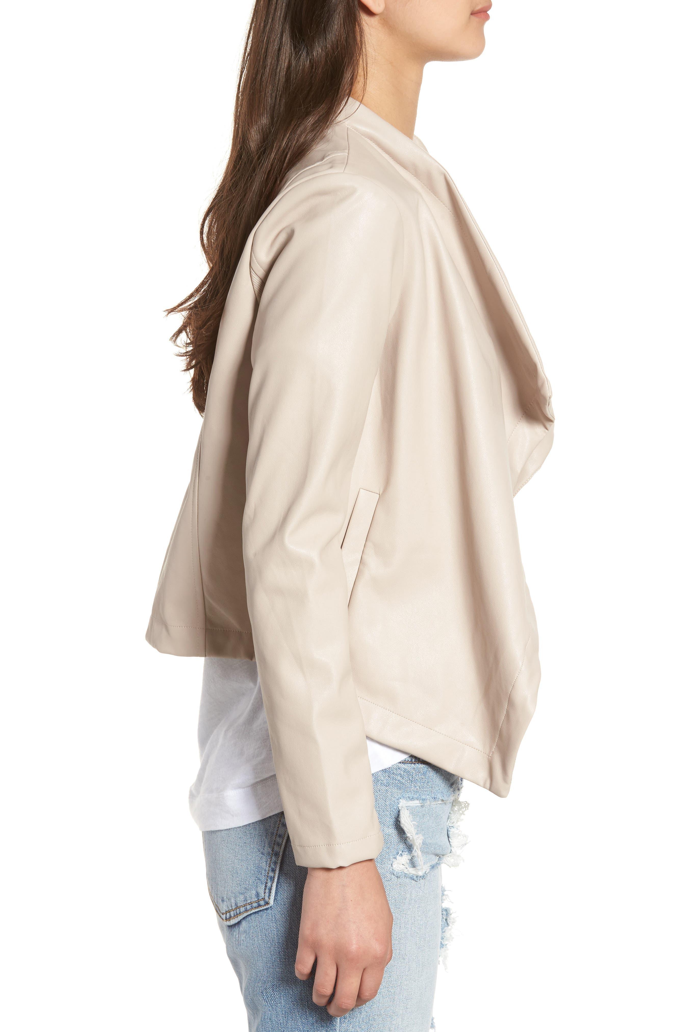 'Peppin' Drape Front Faux Leather Jacket,                             Alternate thumbnail 23, color,