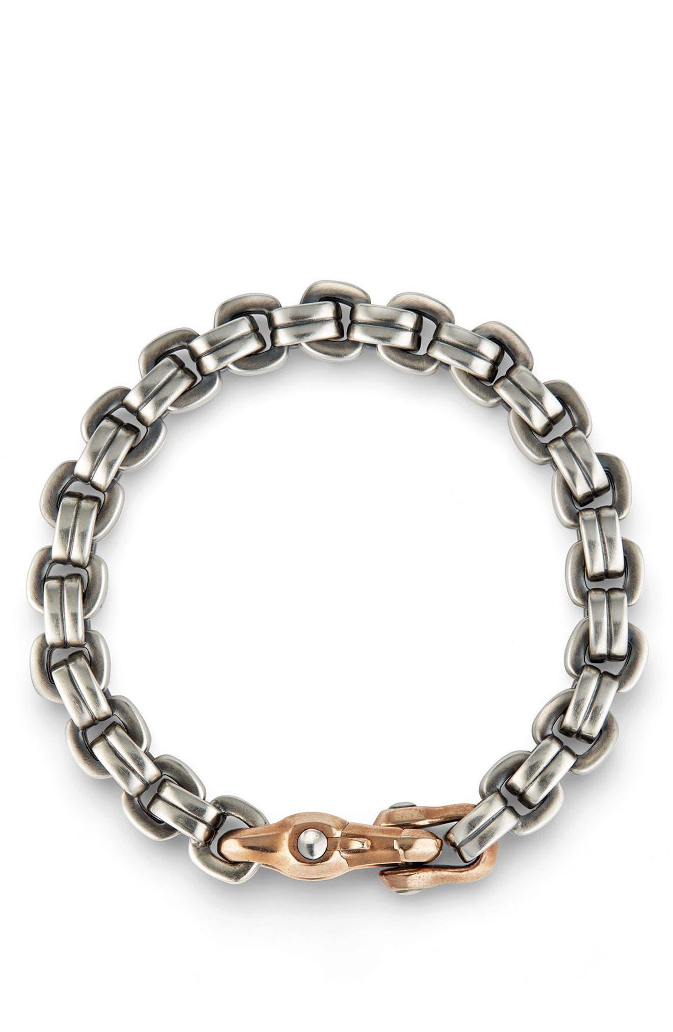 Anvil Chain Bracelet,                             Alternate thumbnail 3, color,                             SILVER/ BRONZE