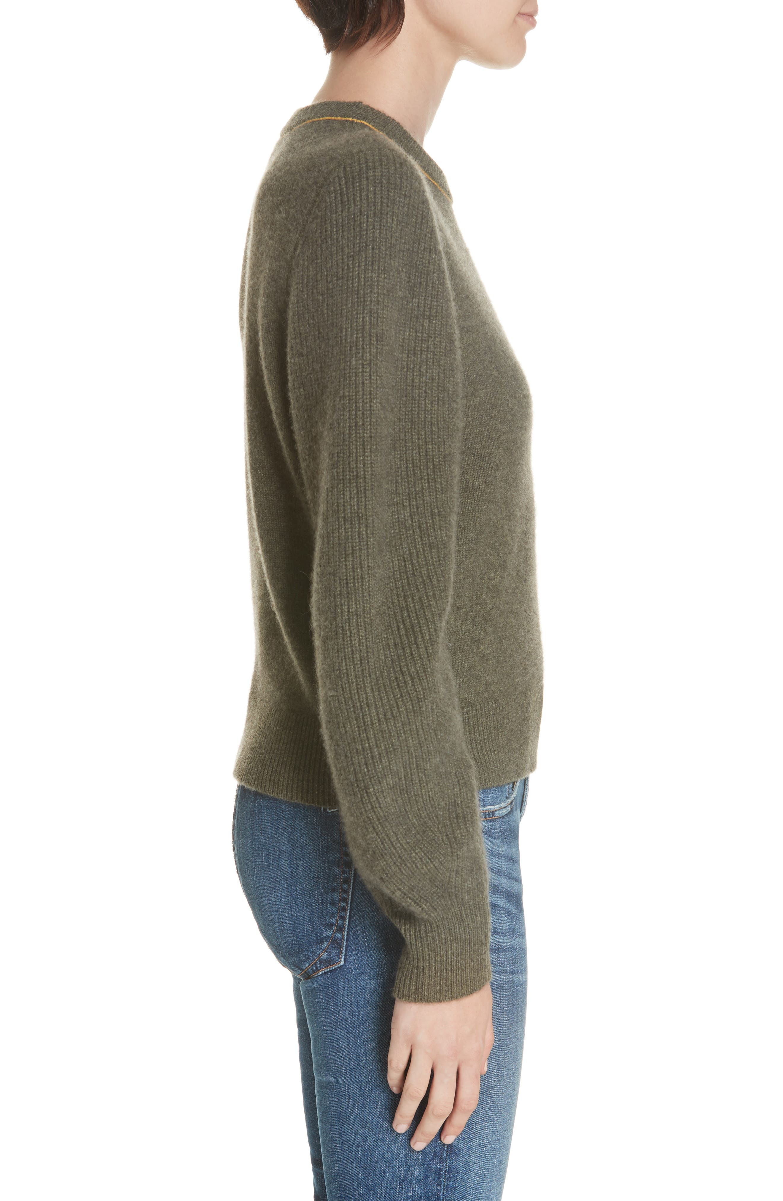 Yorke Cashmere Sweater,                             Alternate thumbnail 3, color,                             ARMY
