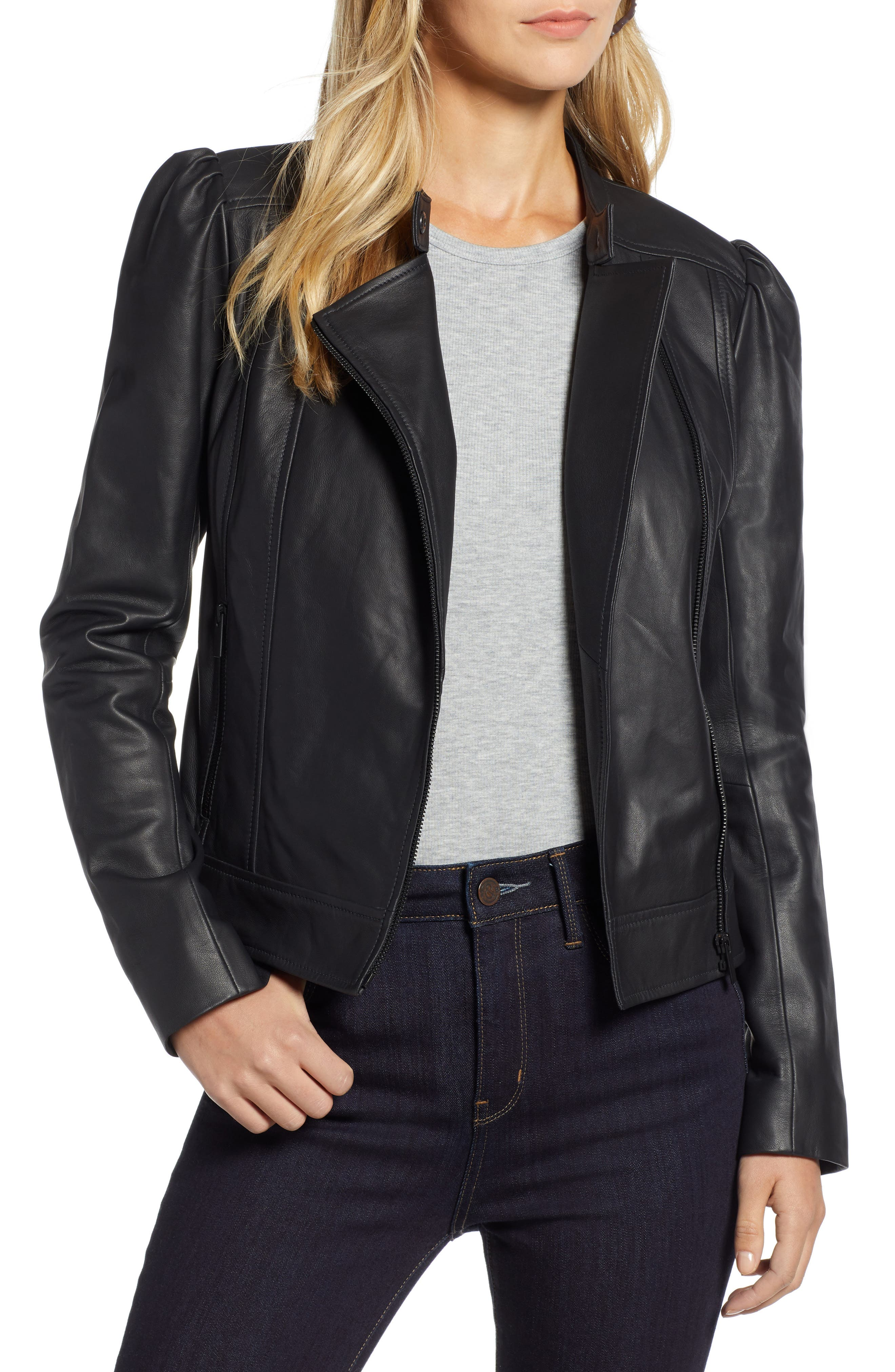 HALOGEN<SUP>®</SUP> Leather Jacket, Main, color, 001