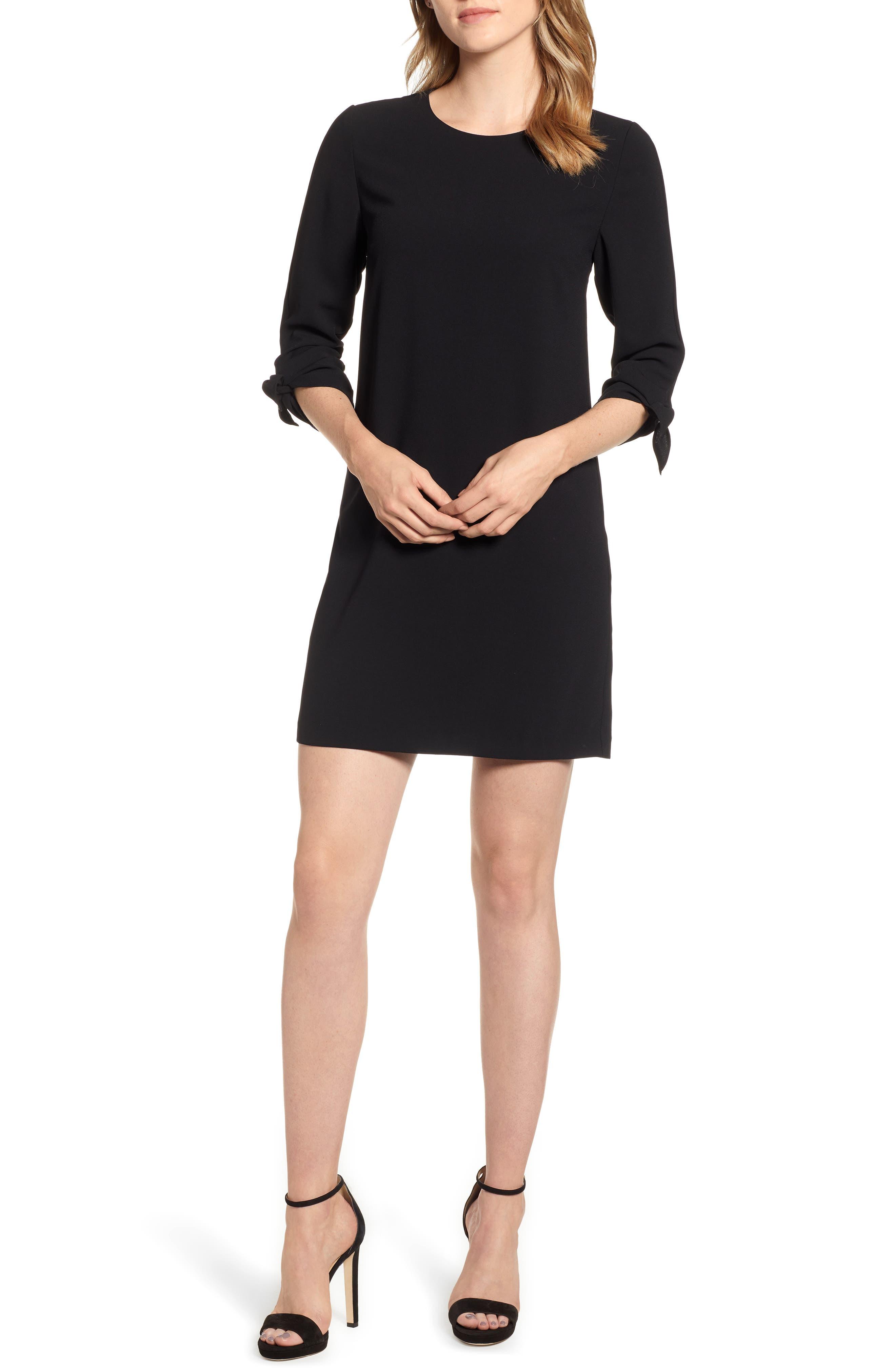 Tie Sleeve Shift Dress,                             Alternate thumbnail 6, color,                             RICH BLACK