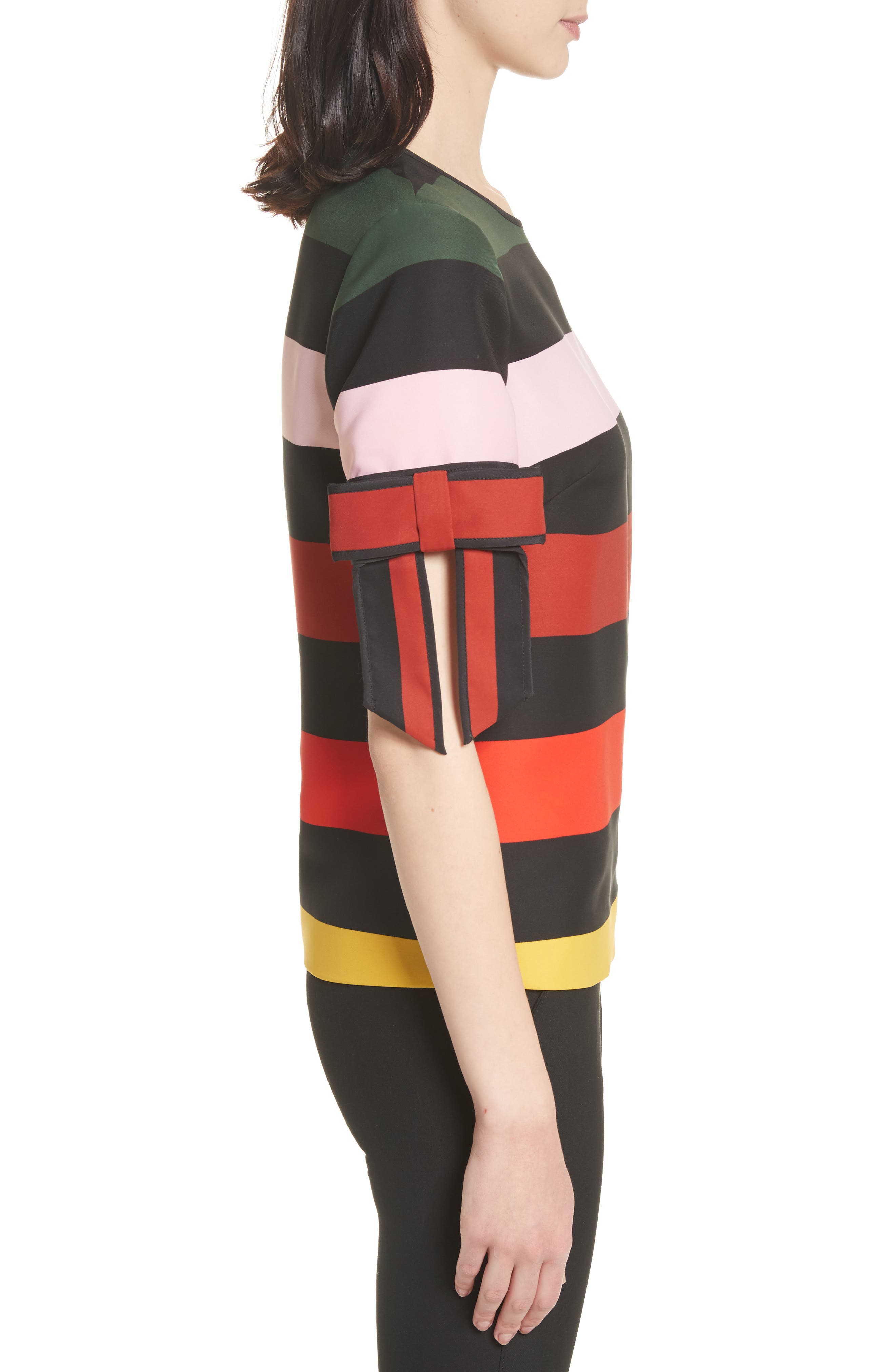 Cruise Stripe Bow Sleeve Top,                             Alternate thumbnail 3, color,                             001