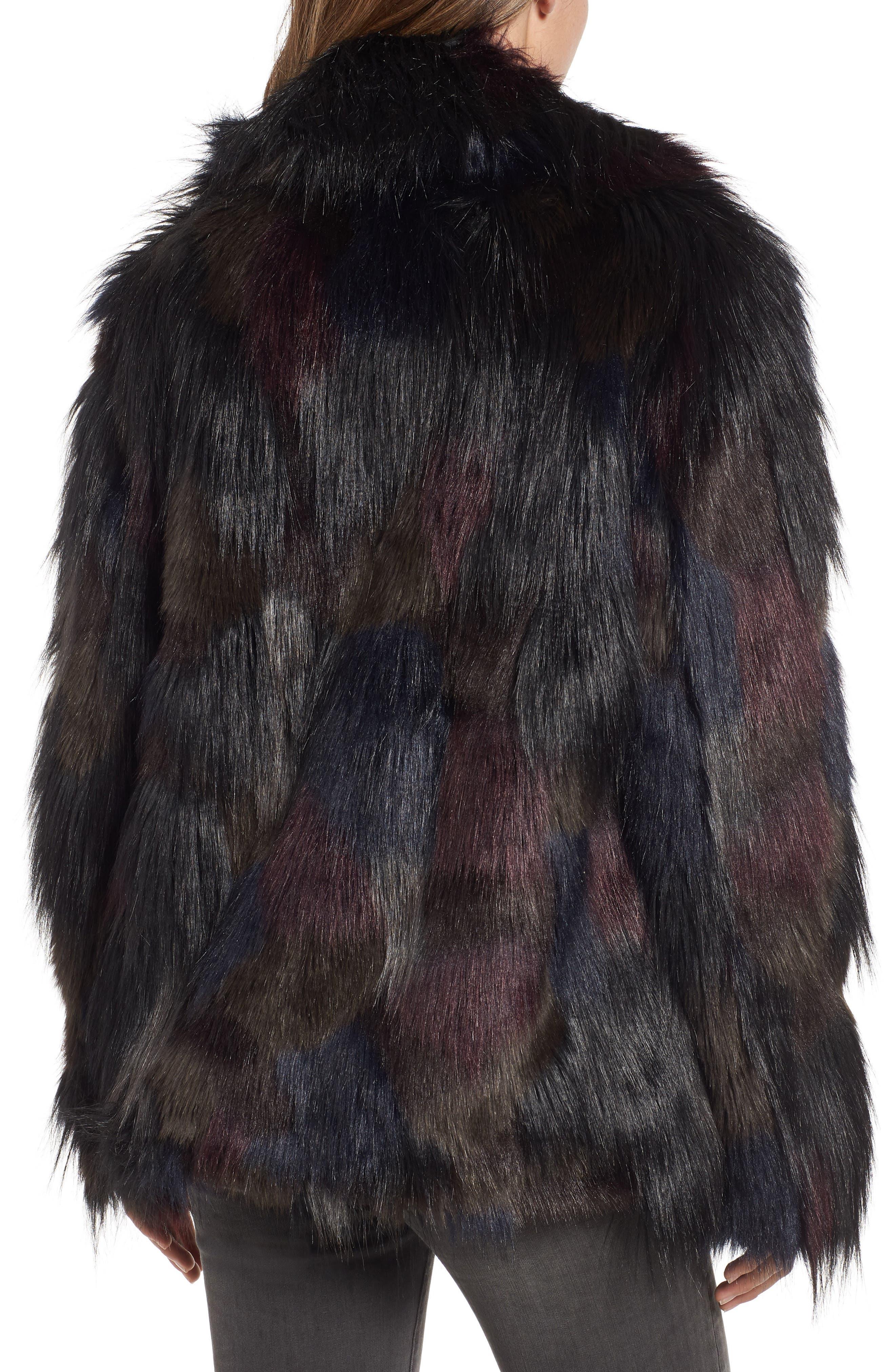 Multicolored Faux Fur Jacket,                             Alternate thumbnail 2, color,                             MULTI