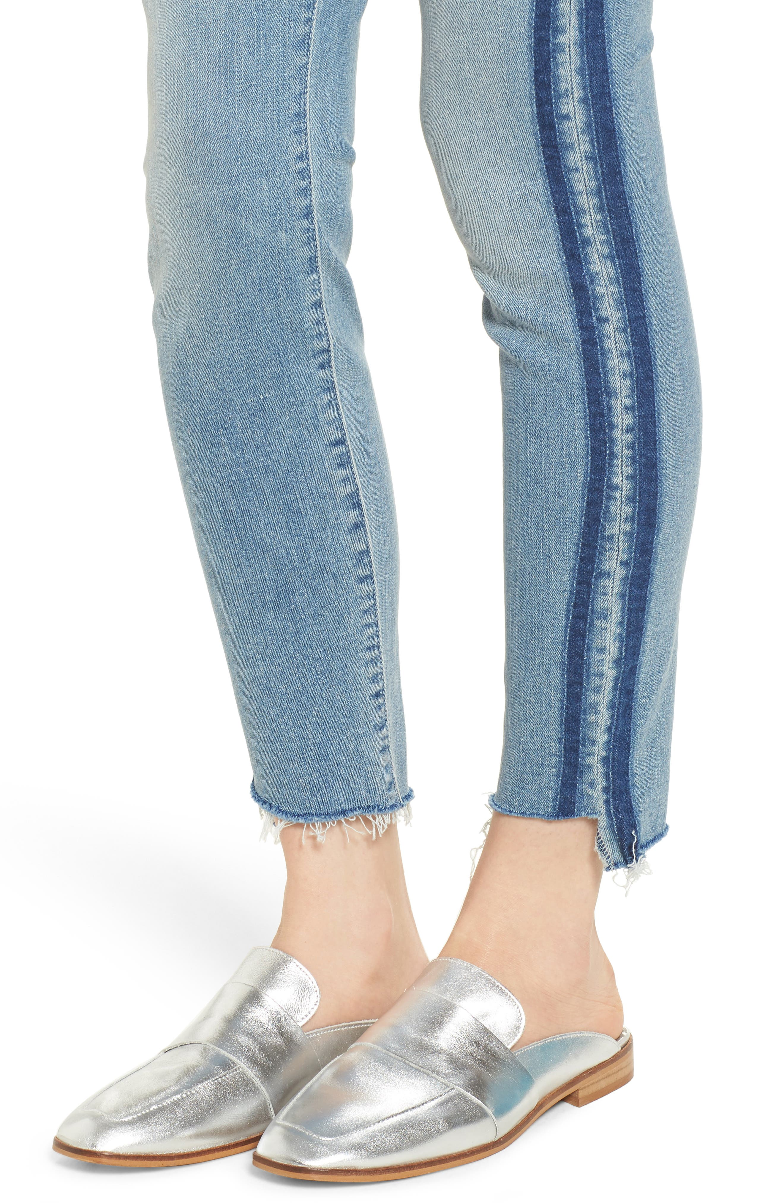 The Stunner Fray Step Hem Skinny Jeans,                             Alternate thumbnail 4, color,                             462