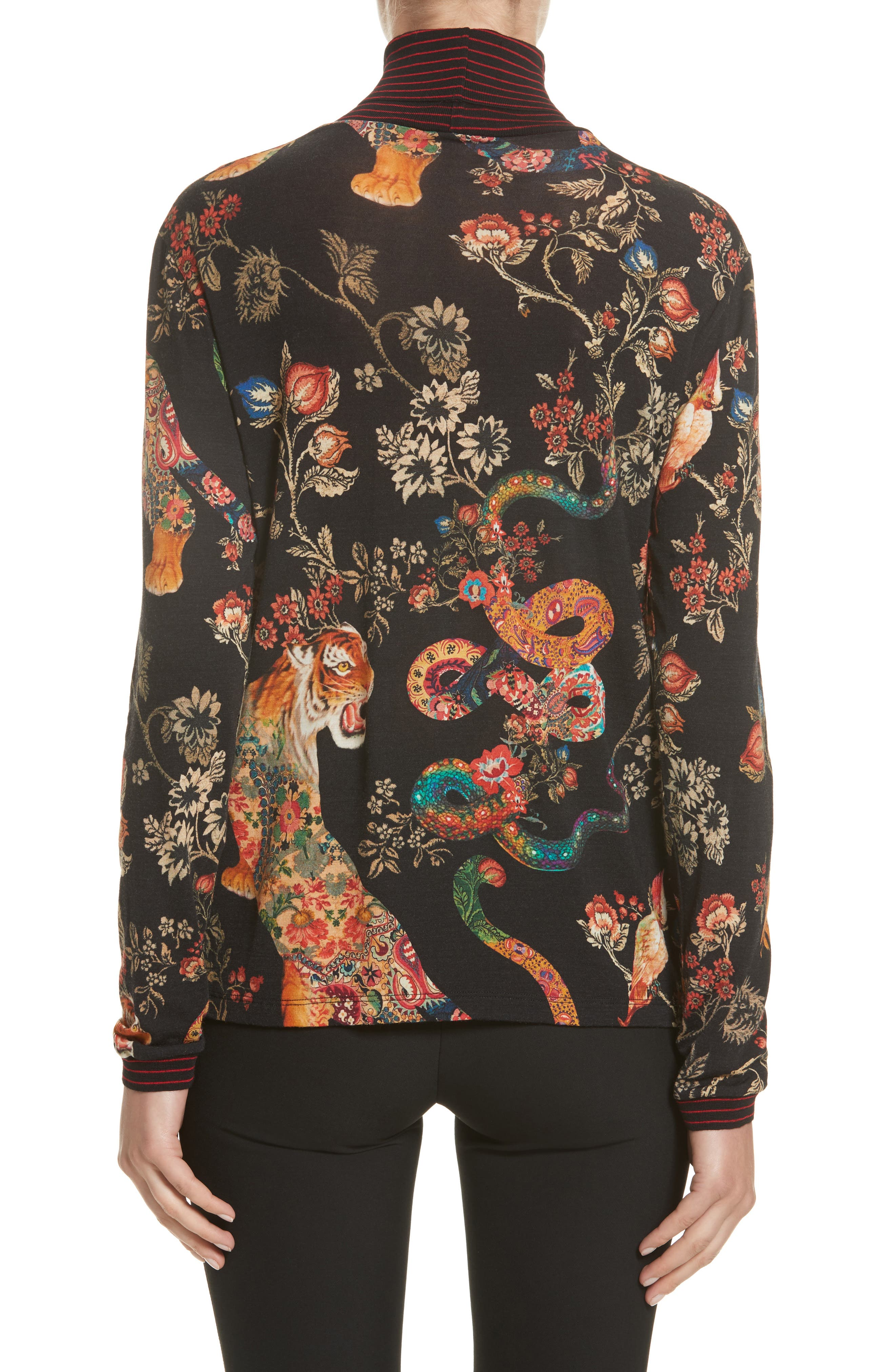 Tiger Print Mock Neck Sweater,                             Alternate thumbnail 2, color,