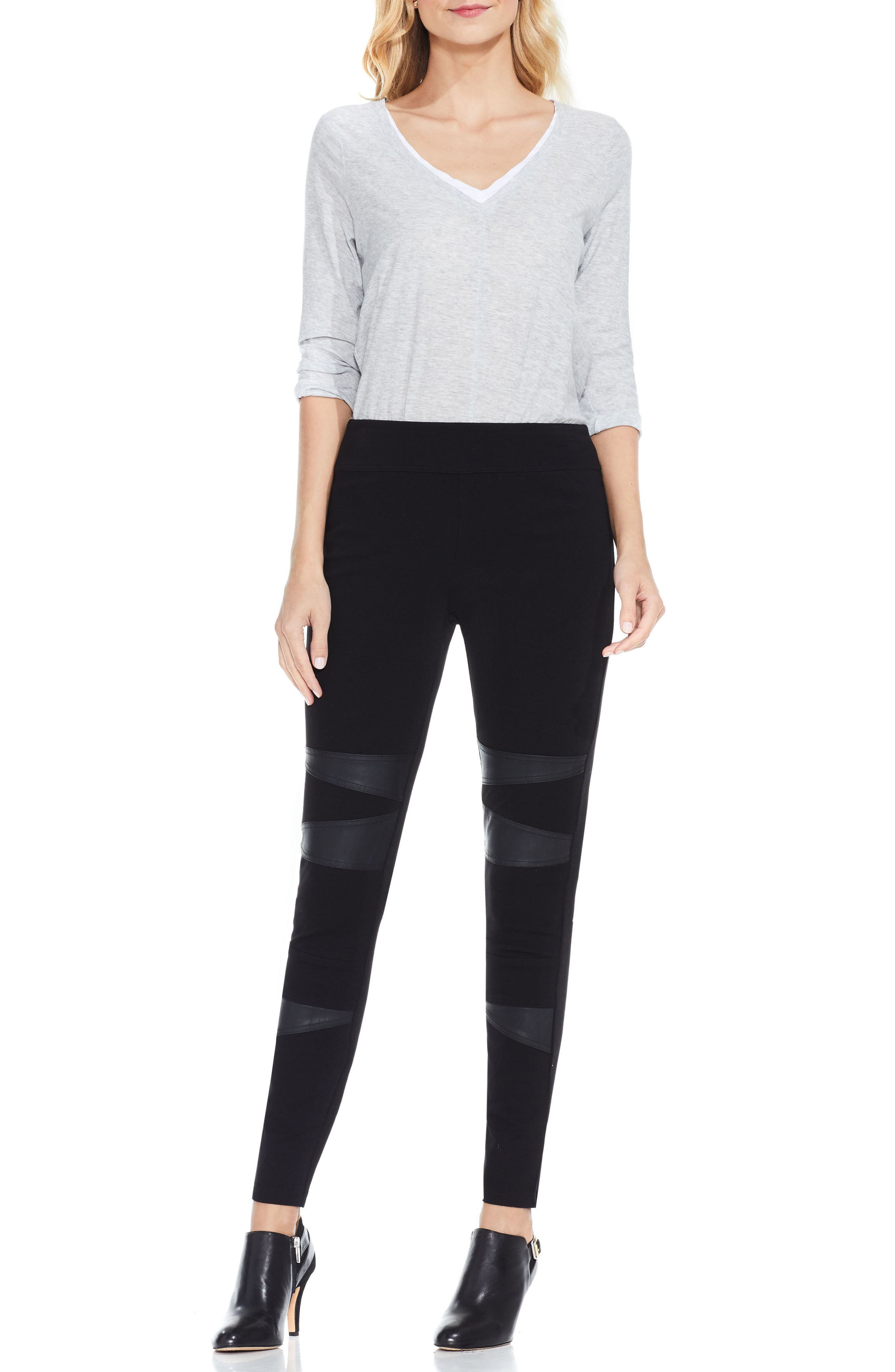 Two by Vince Camuto Faux Leather Trim Moto Leggings,                             Alternate thumbnail 5, color,                             001