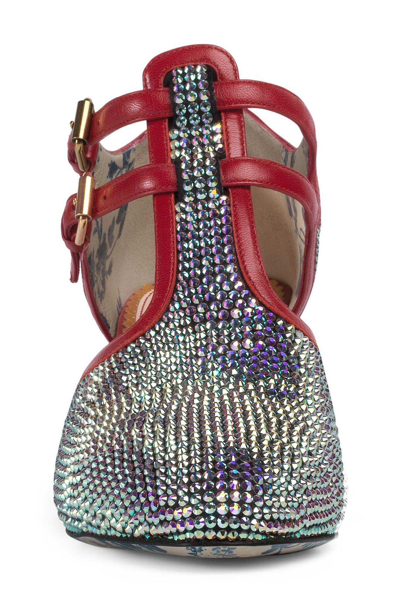 Mila Crystal Embellished T-Strap Pump,                             Alternate thumbnail 4, color,                             040