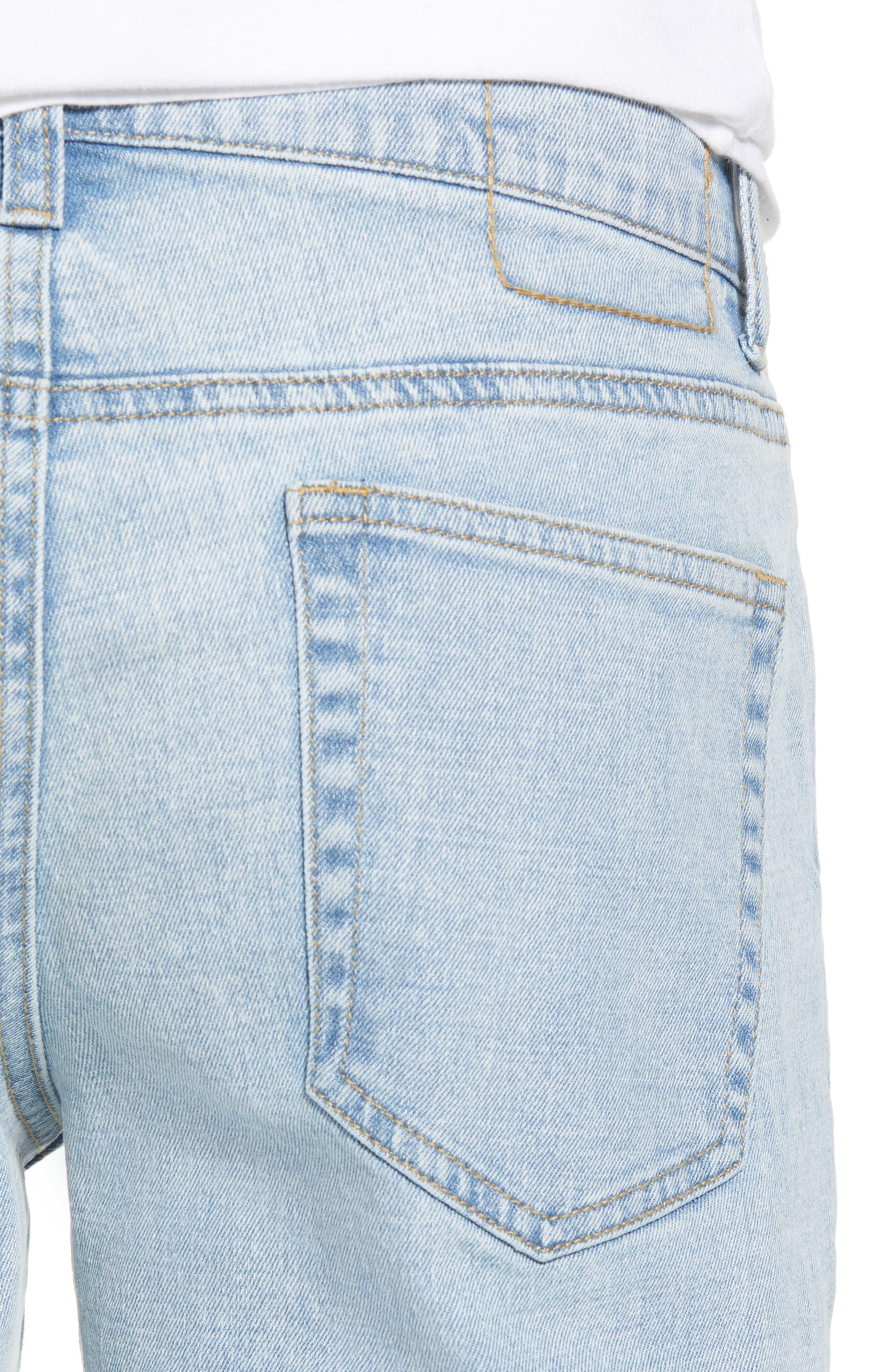 Acid Wash Stretch Slim Leg Jeans,                             Alternate thumbnail 4, color,                             BLUE VEDDER WASH