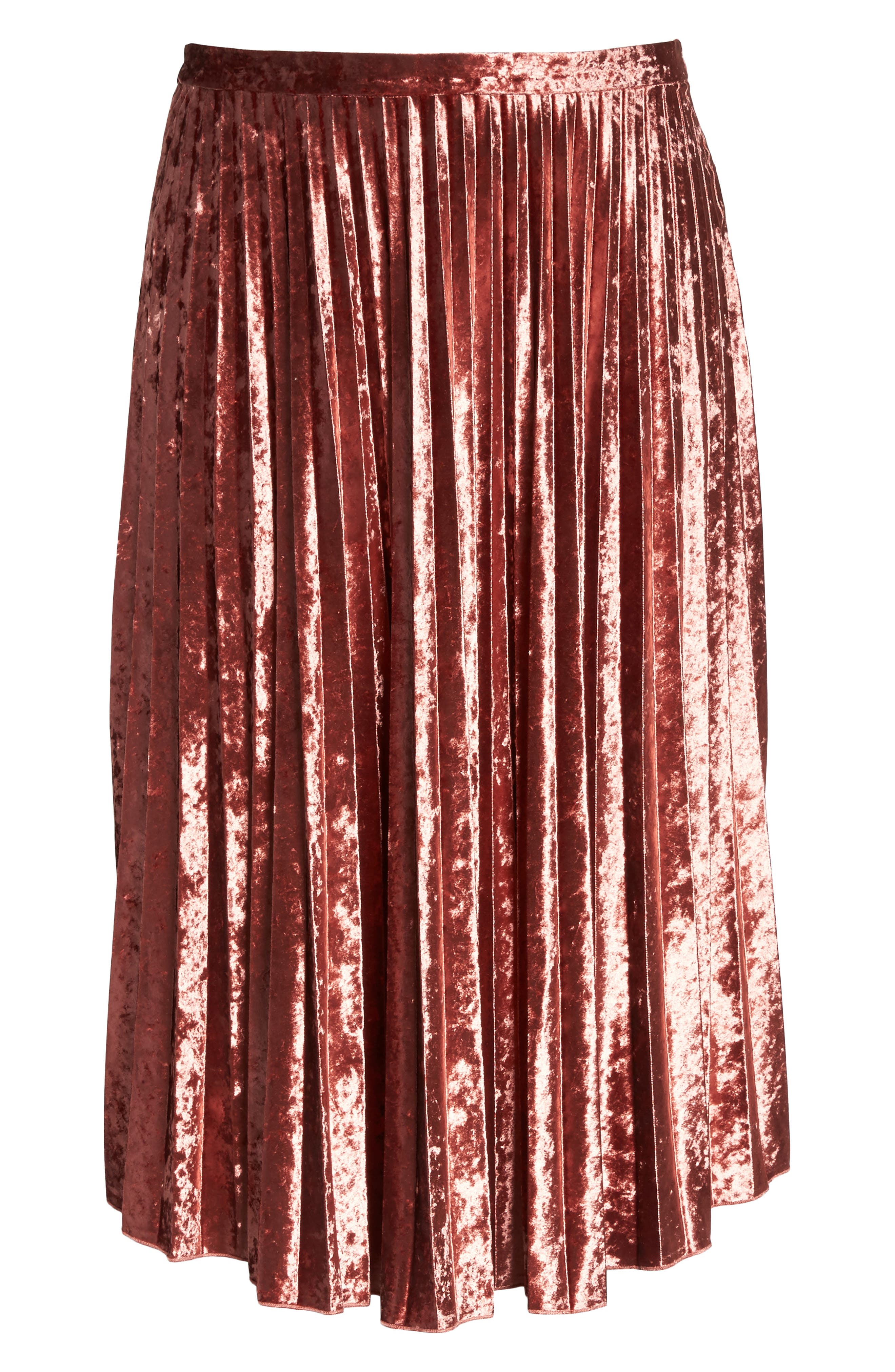 Velvet Pleat Skirt,                             Alternate thumbnail 12, color,