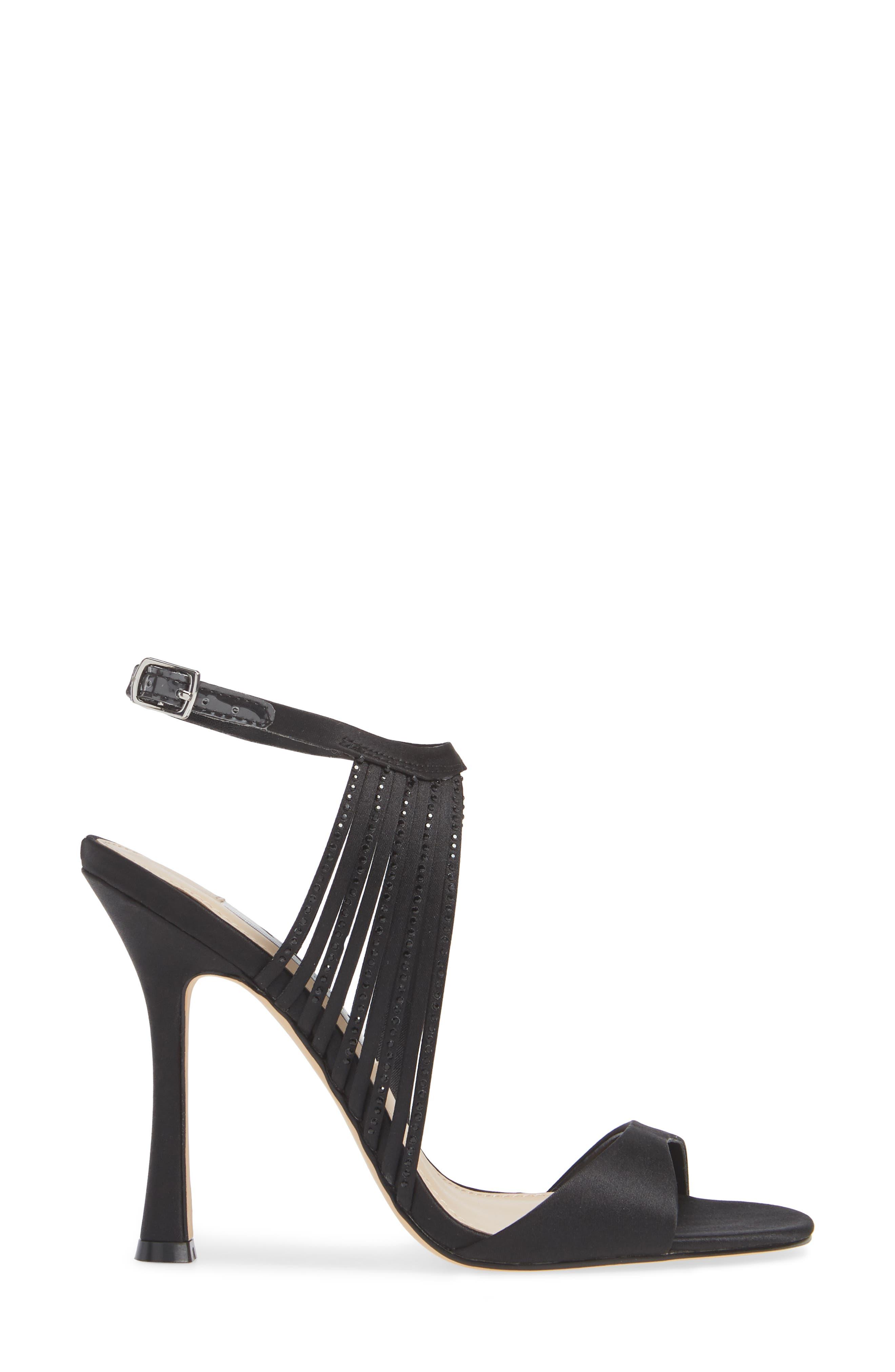 Damaris Crystal Embellished Sandal,                             Alternate thumbnail 3, color,                             BLACK SATIN