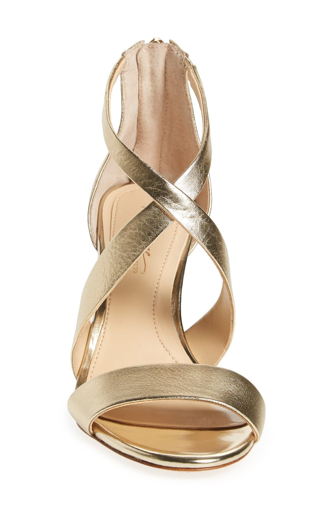 'Pascal 2' Strappy Evening Sandal,                             Alternate thumbnail 4, color,                             SOFT GOLD LEATHER