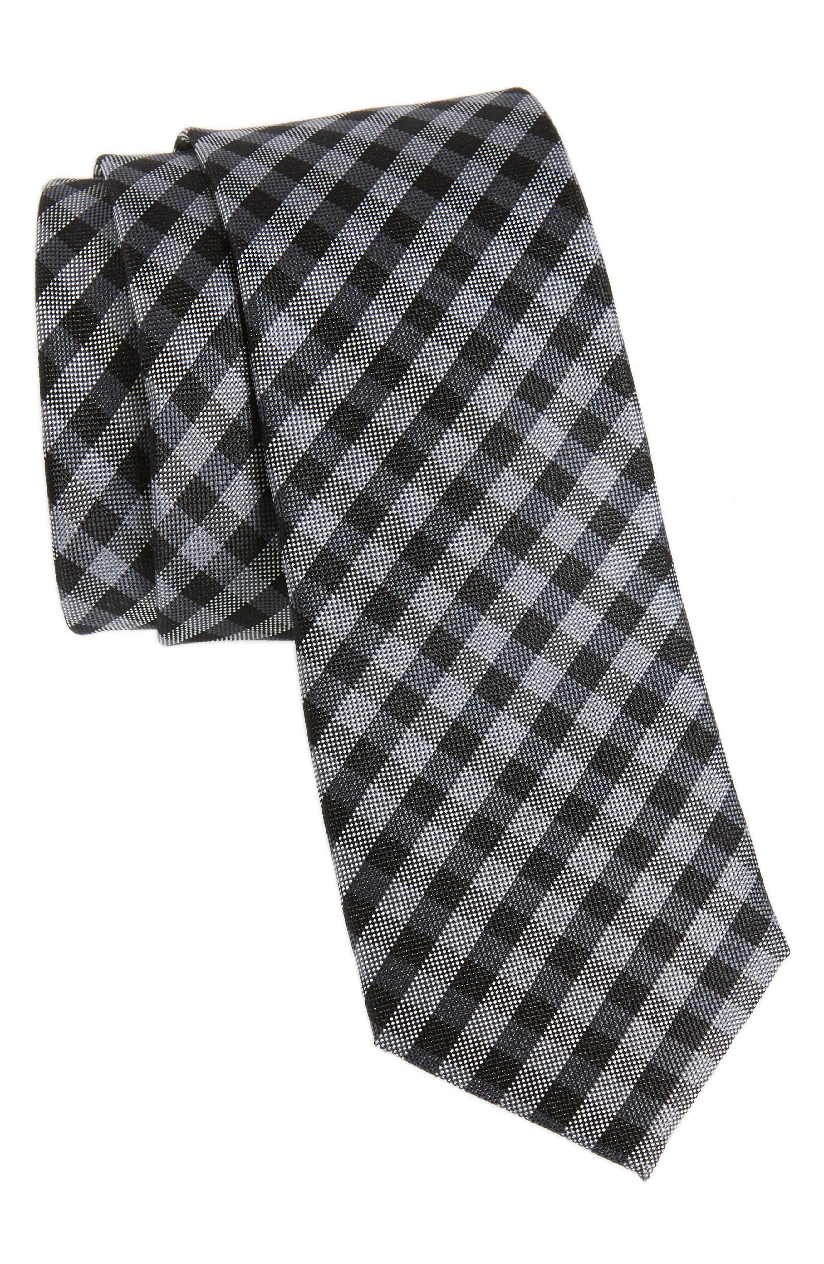 Java Check Silk Tie,                             Main thumbnail 1, color,                             001