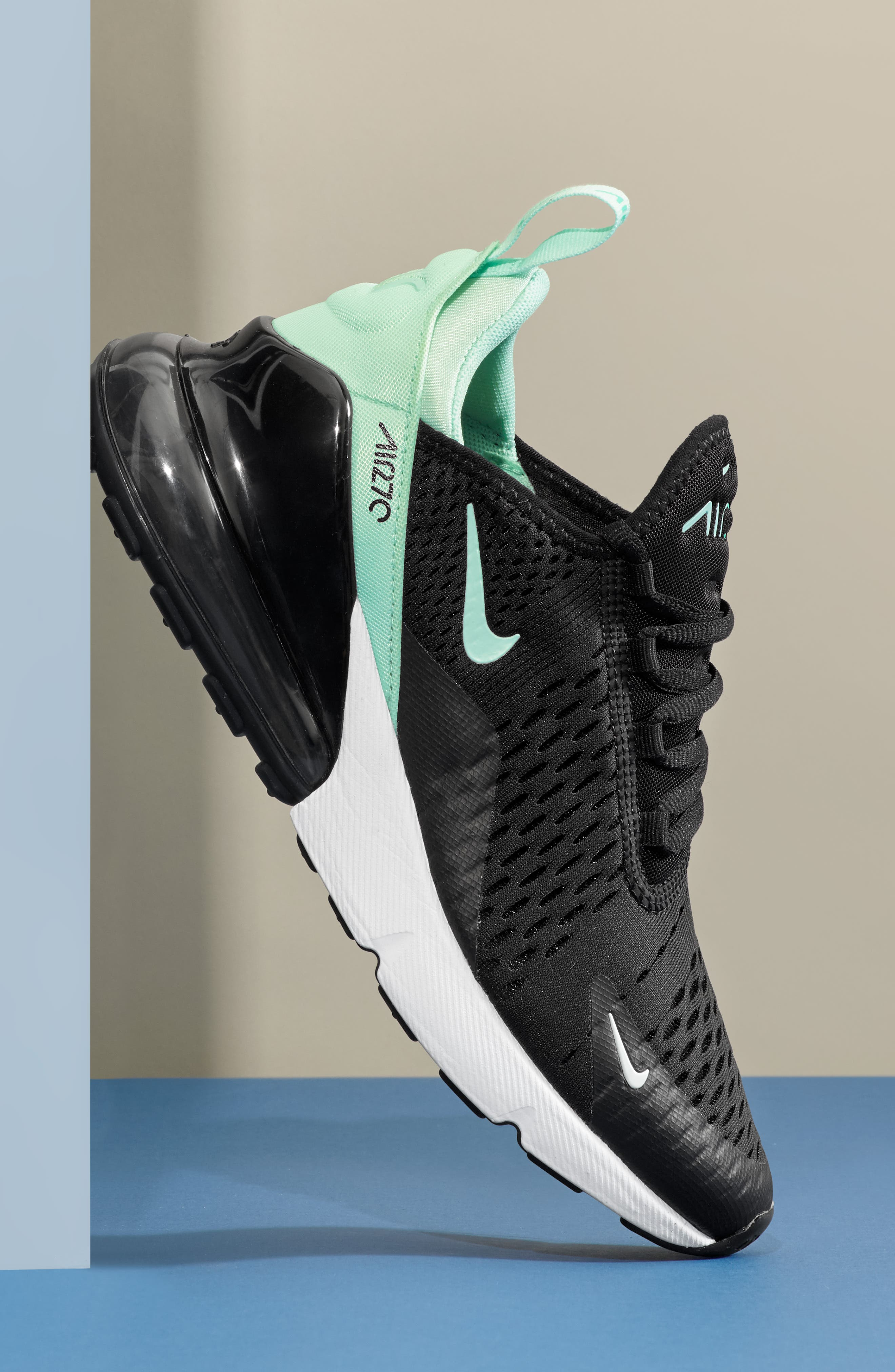 Air Max 270 Premium Sneaker,                             Alternate thumbnail 7, color,                             BLACK/ IGLOO TURQUOISE WHITE