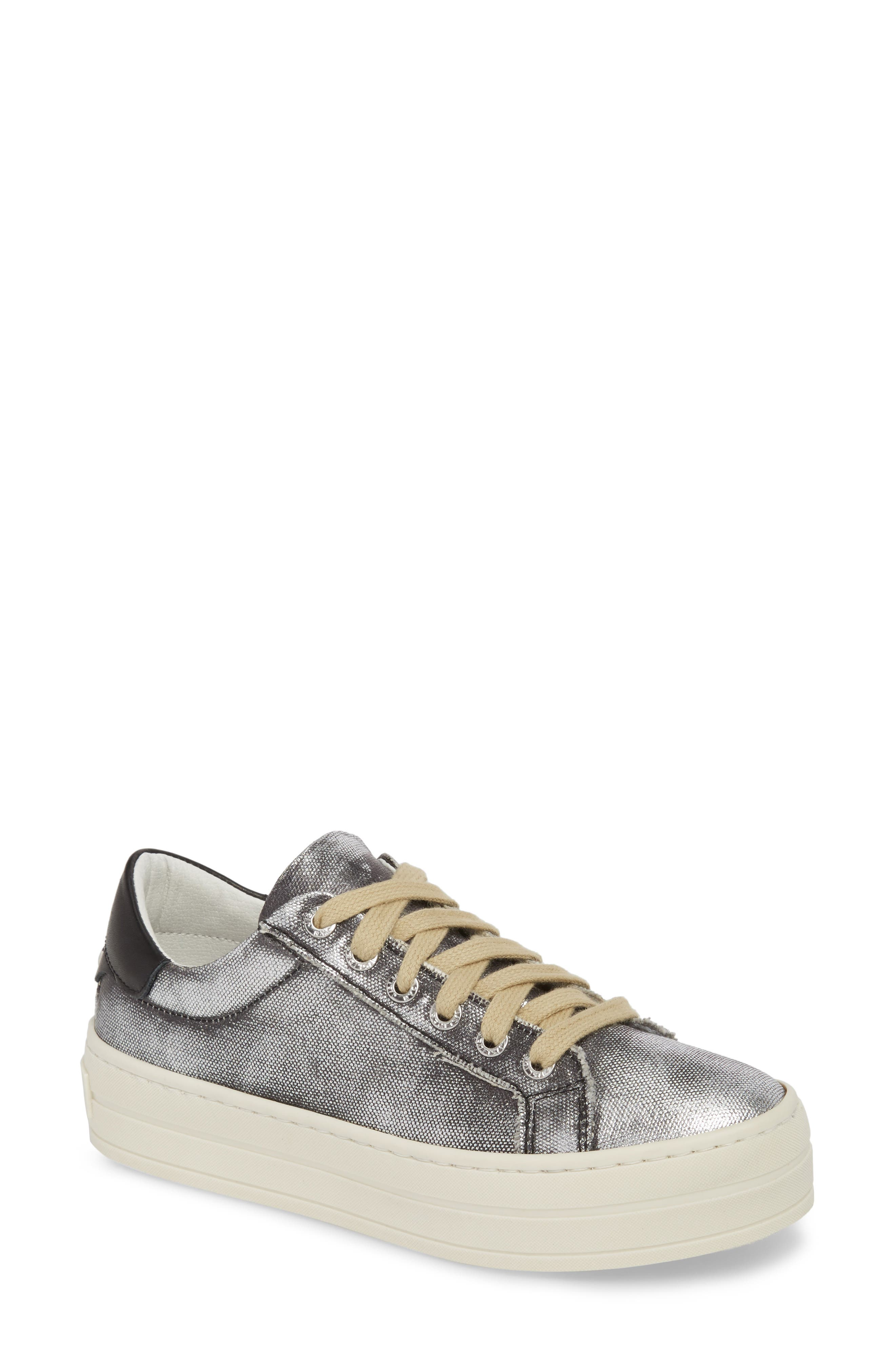 Heather Platform Sneaker,                         Main,                         color, BLACK LEATHER