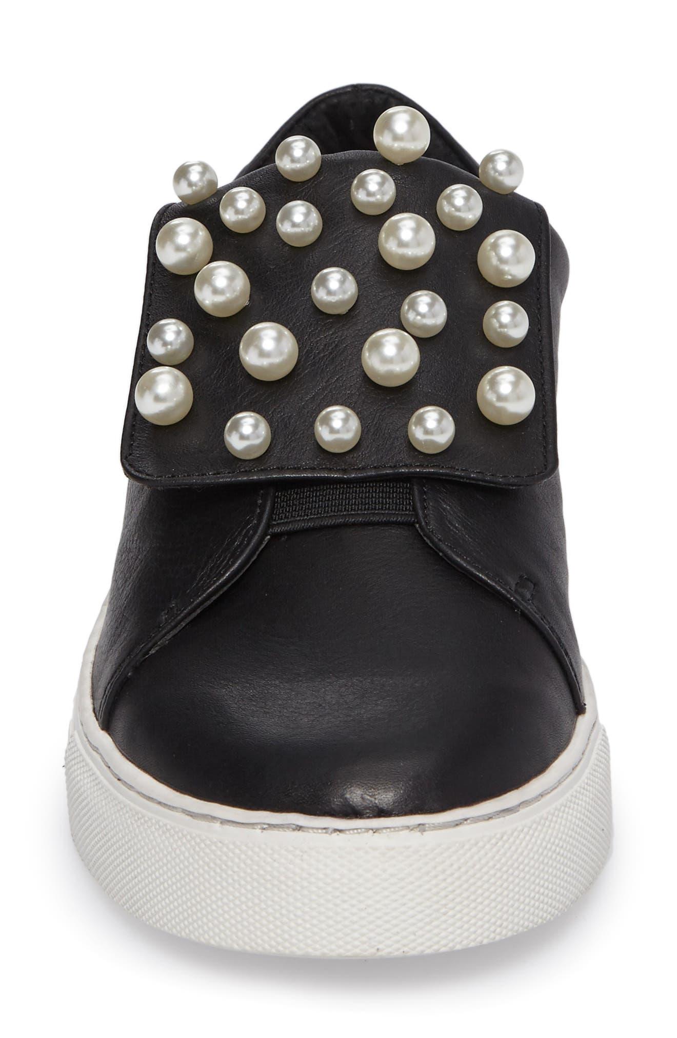 Hadi Imitation Pearl Embellished Platorm Sneaker,                             Alternate thumbnail 4, color,                             001