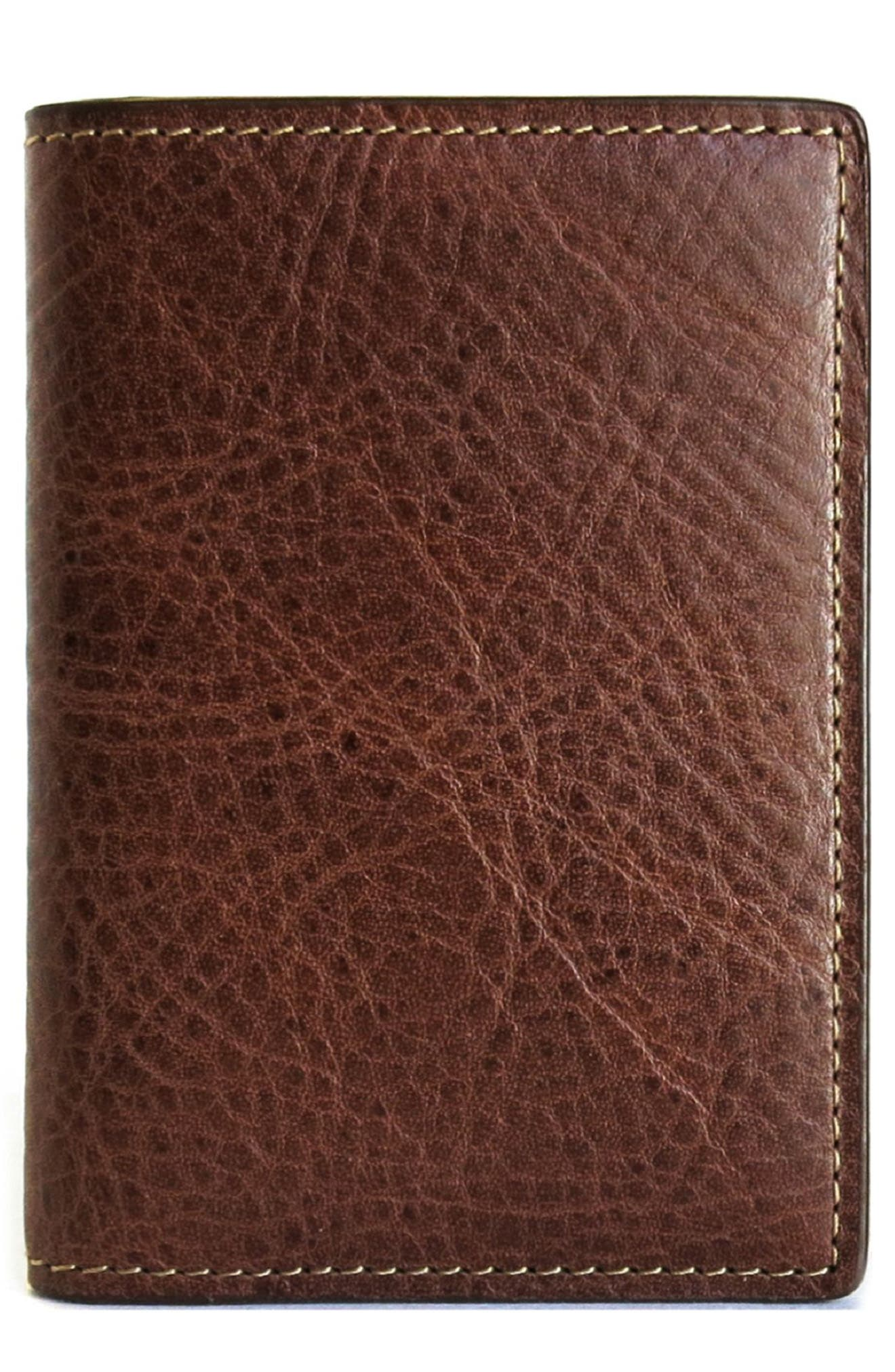 Caleb Leather Folding Card Case,                             Main thumbnail 1, color,                             CHESTNUT