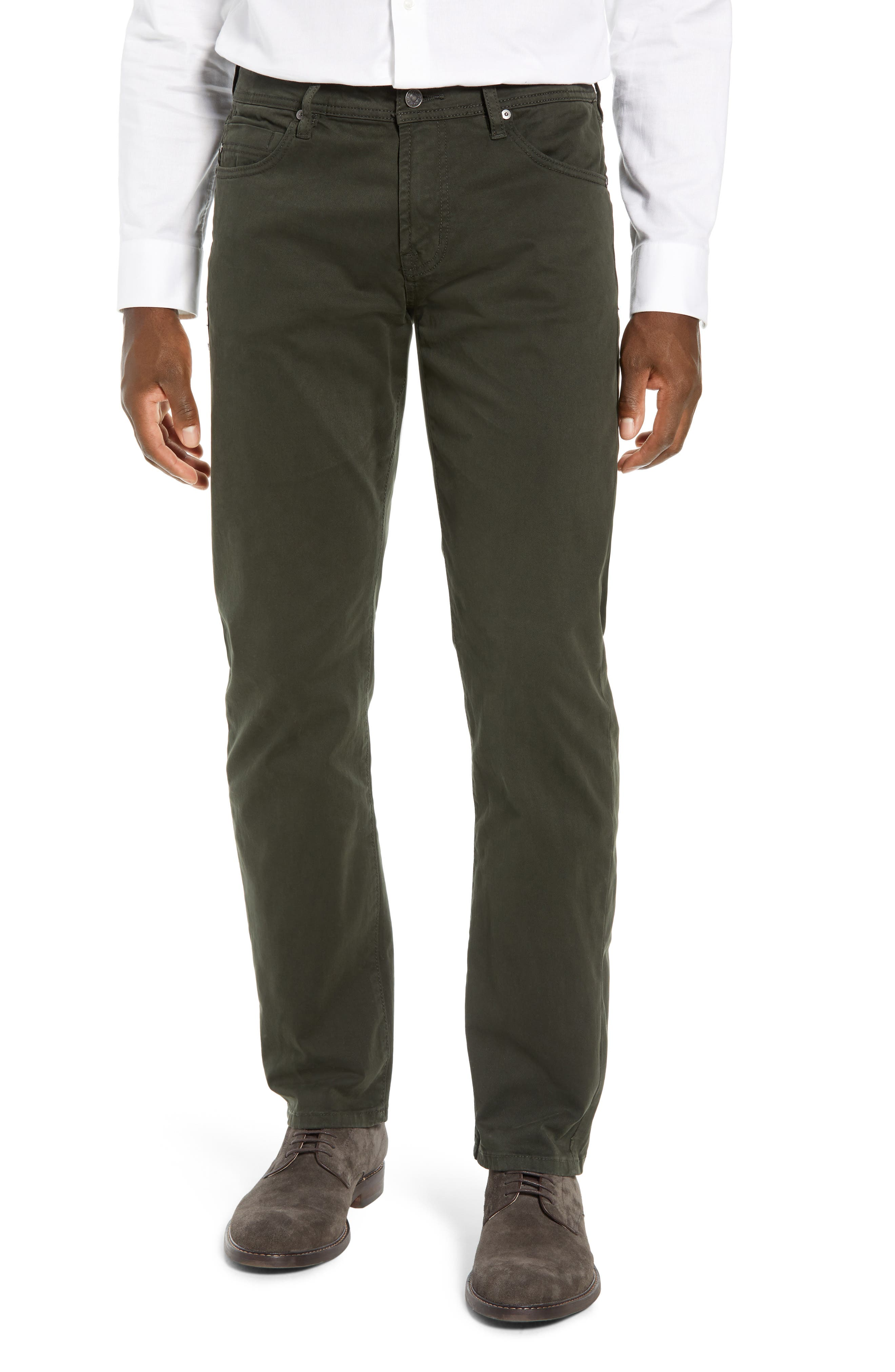 Regent Relaxed Straight Leg Twill Pants, Main, color, OLIVE MULCH