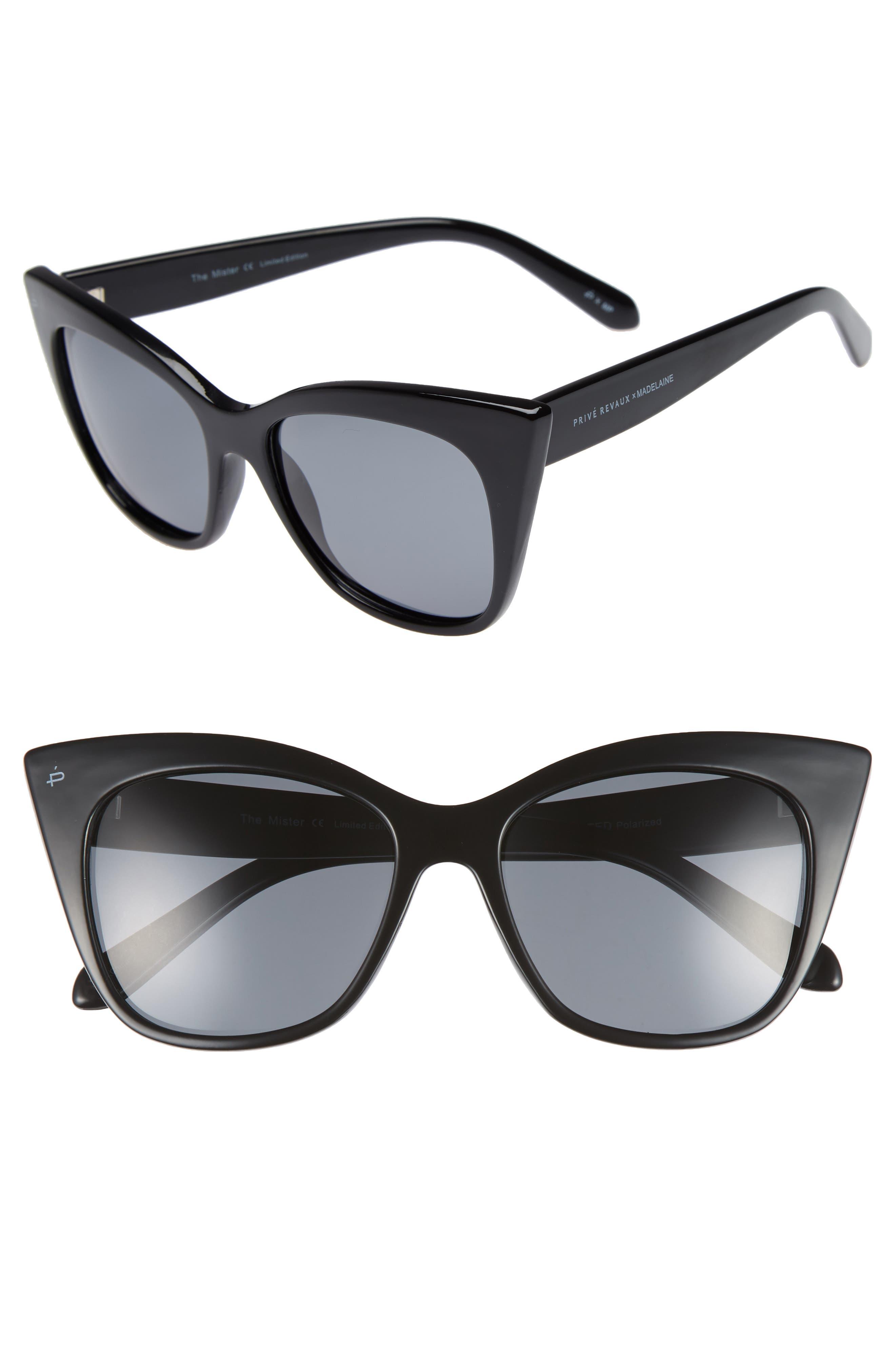 Privé Revaux x Madelaine Petsch The Mister 54mm Cat Eye Sunglasses,                         Main,                         color, BLACK/ BLACK