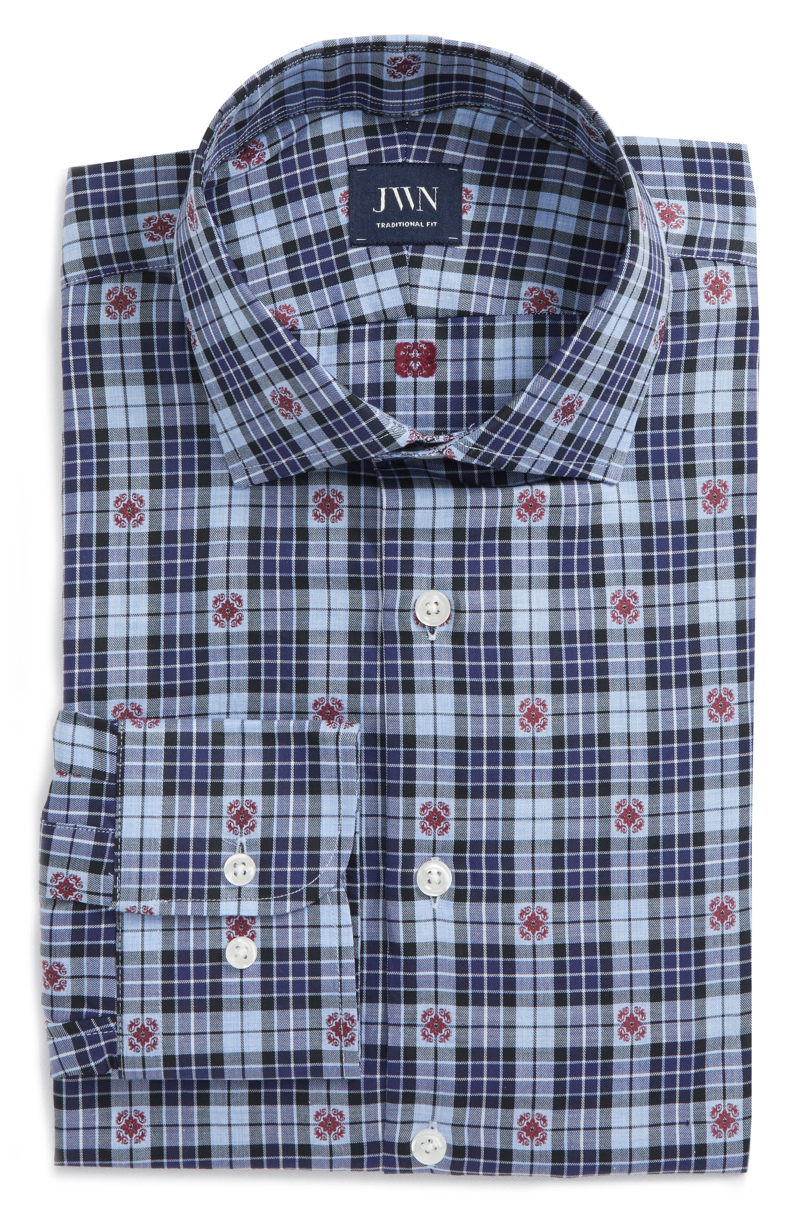 Traditional Fit Plaid Dress Shirt,                             Alternate thumbnail 5, color,                             410