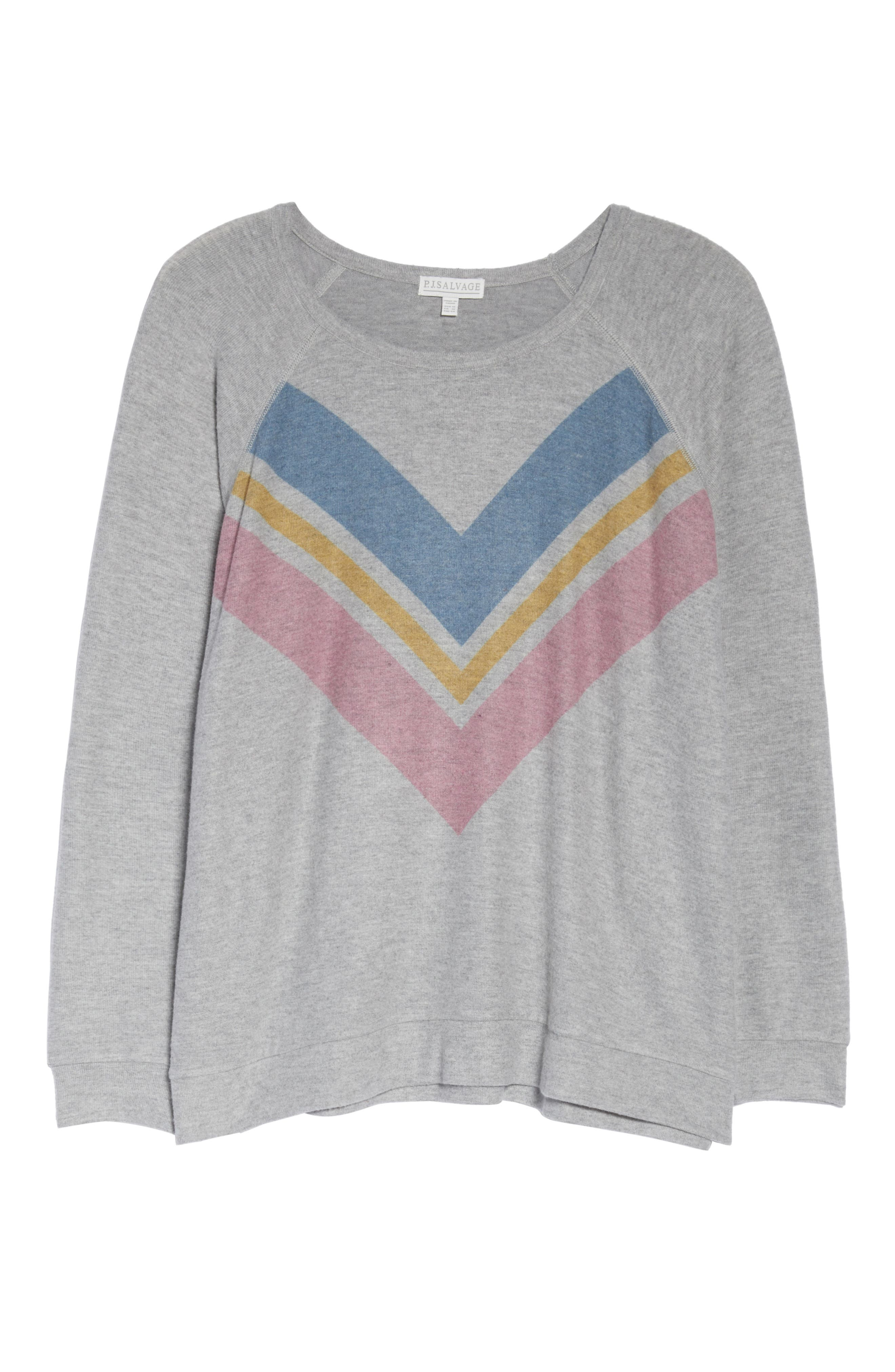 Lounge Essentials Chevron Pullover,                             Alternate thumbnail 6, color,                             HEATHER GREY