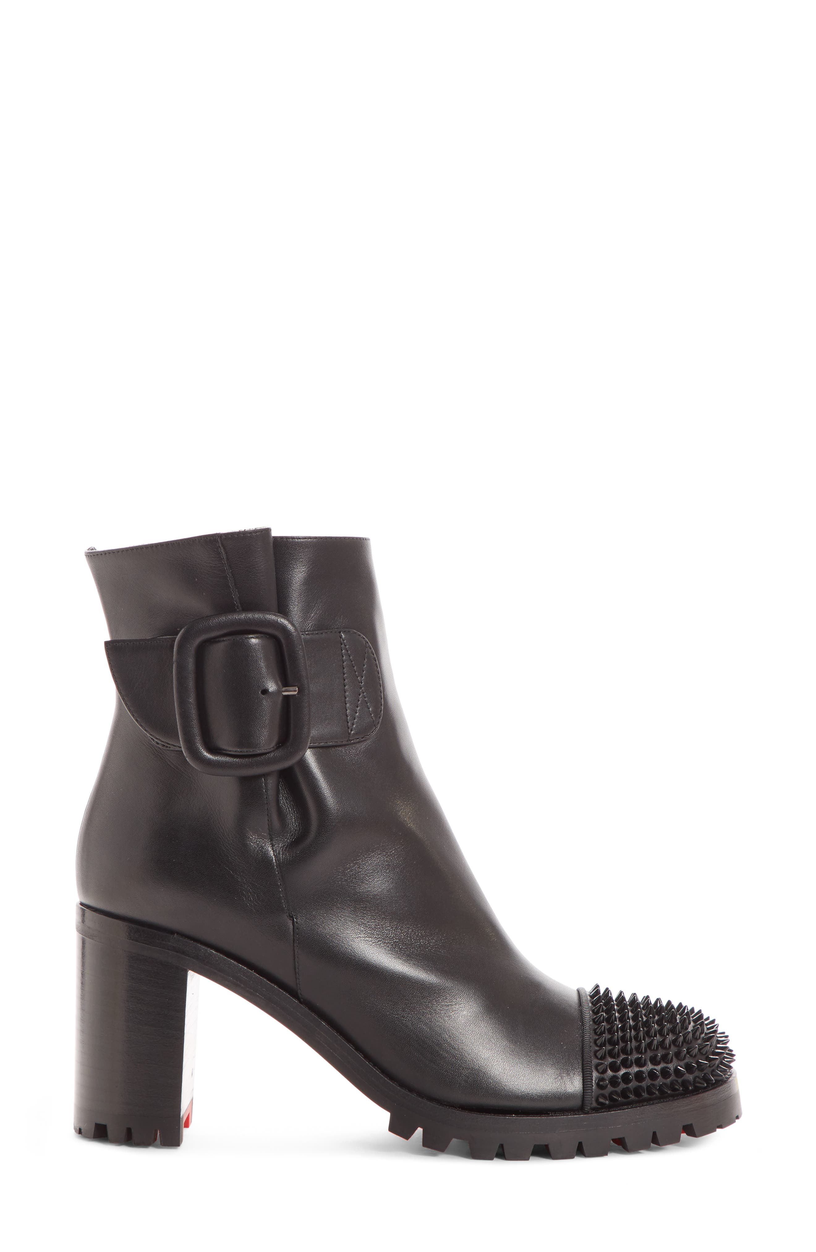 CHRISTIAN LOUBOUTIN,                             Olivia Spiked Boot,                             Alternate thumbnail 3, color,                             001