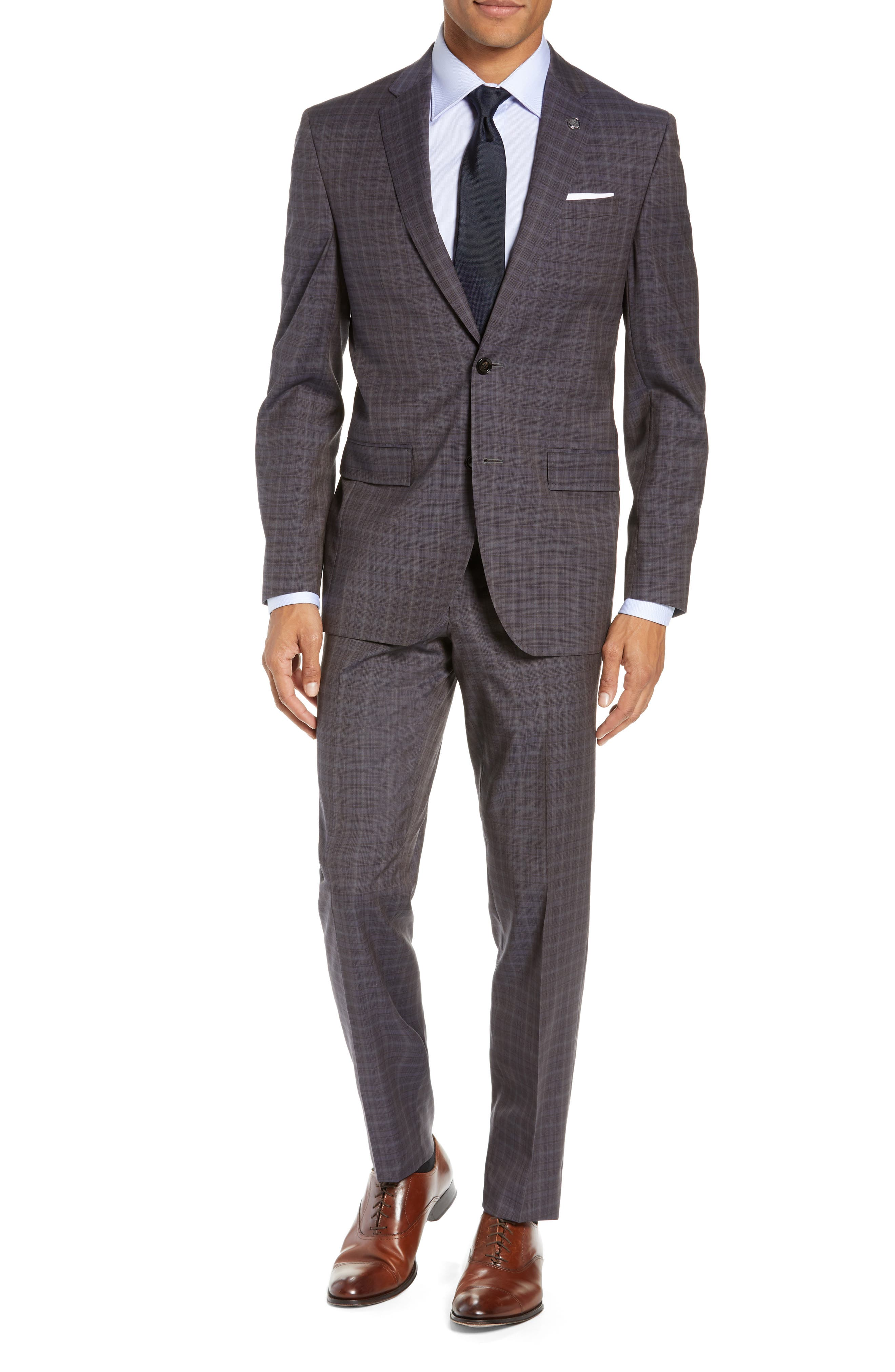 TED BAKER LONDON Jay Trim Fit Plaid Wool Suit, Main, color, TAUPE