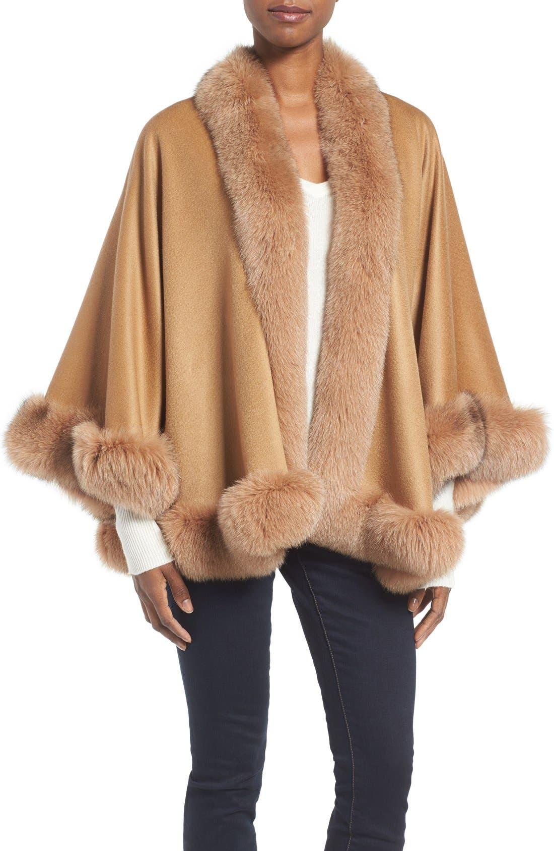 Genuine Fox Fur Trim Short Cashmere Cape,                             Main thumbnail 3, color,