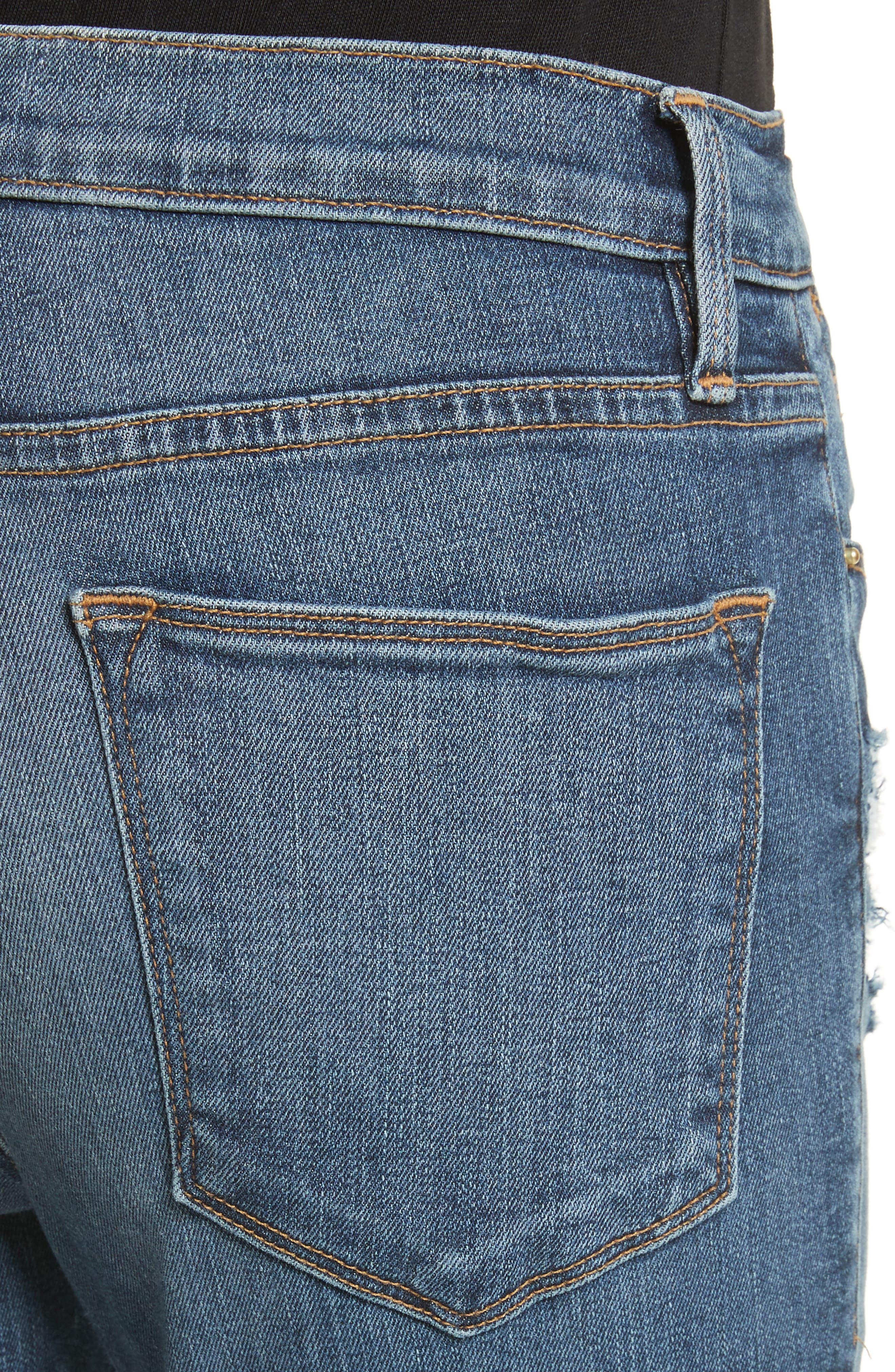 Le High Raw Hem Skinny Jeans,                             Alternate thumbnail 4, color,                             420