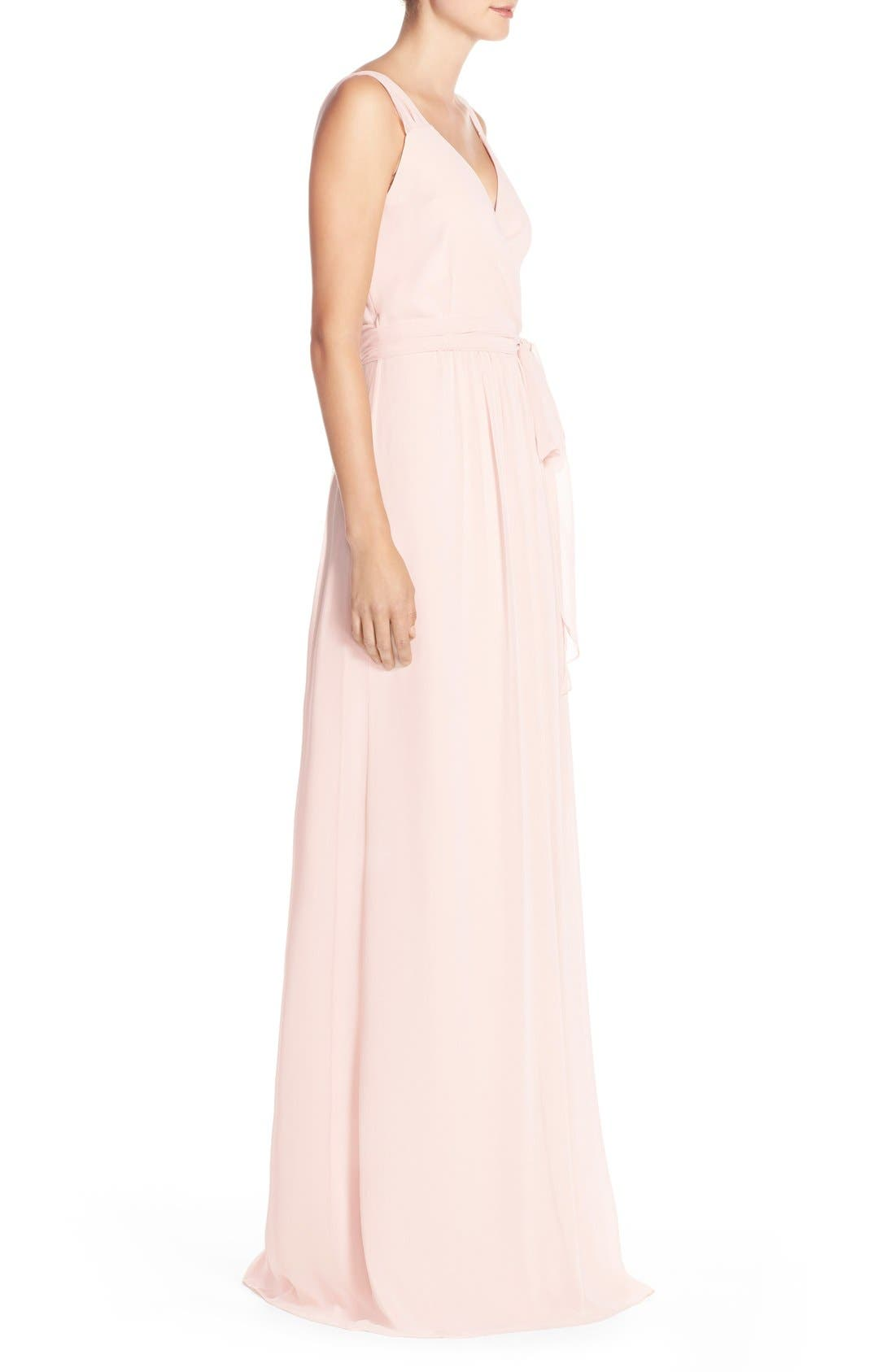 Newbury Gathered Sleeve Chiffon Wrap Gown,                             Alternate thumbnail 21, color,