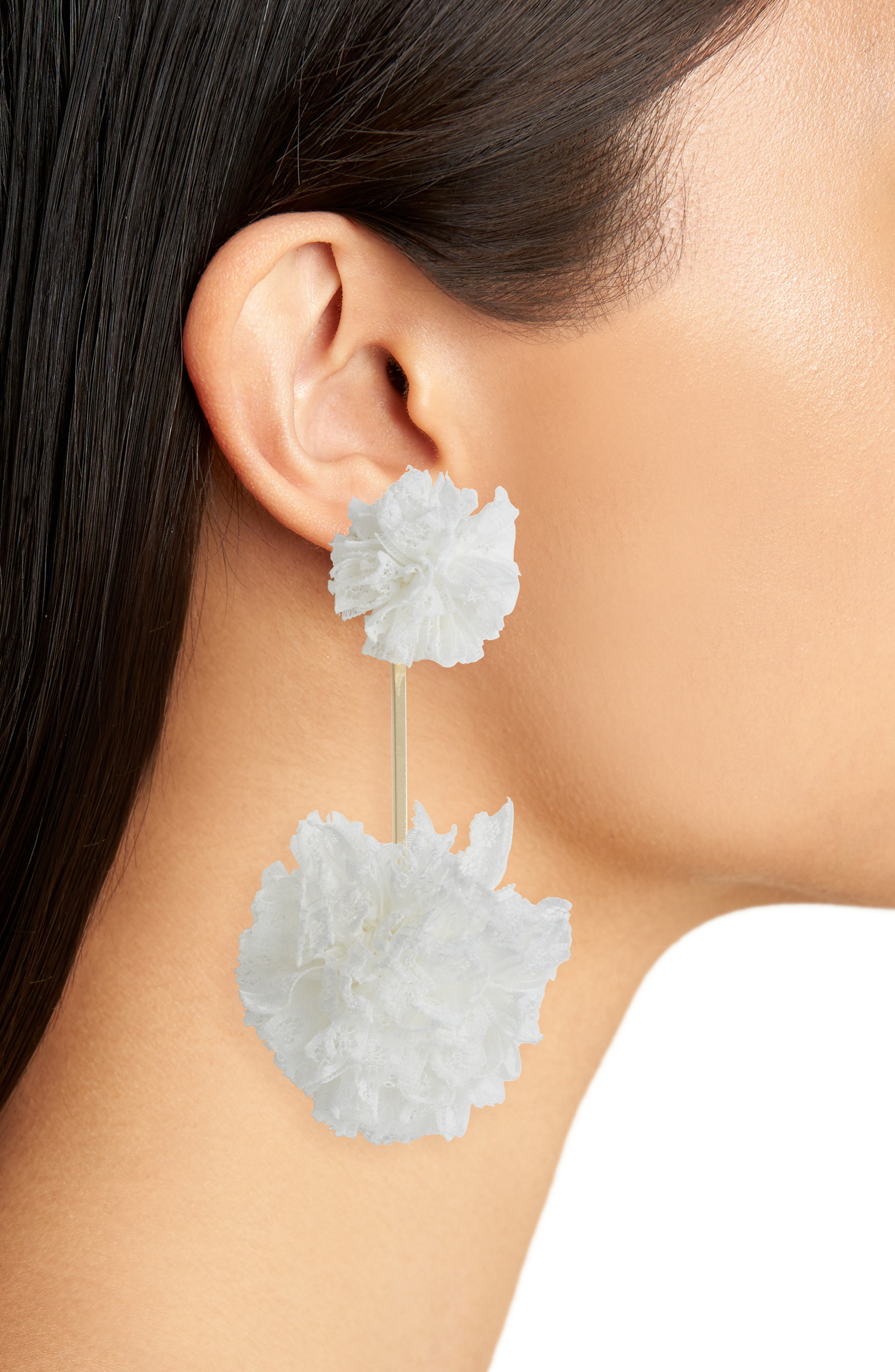 Double Lace Pom Pom Earrings,                             Alternate thumbnail 2, color,                             100