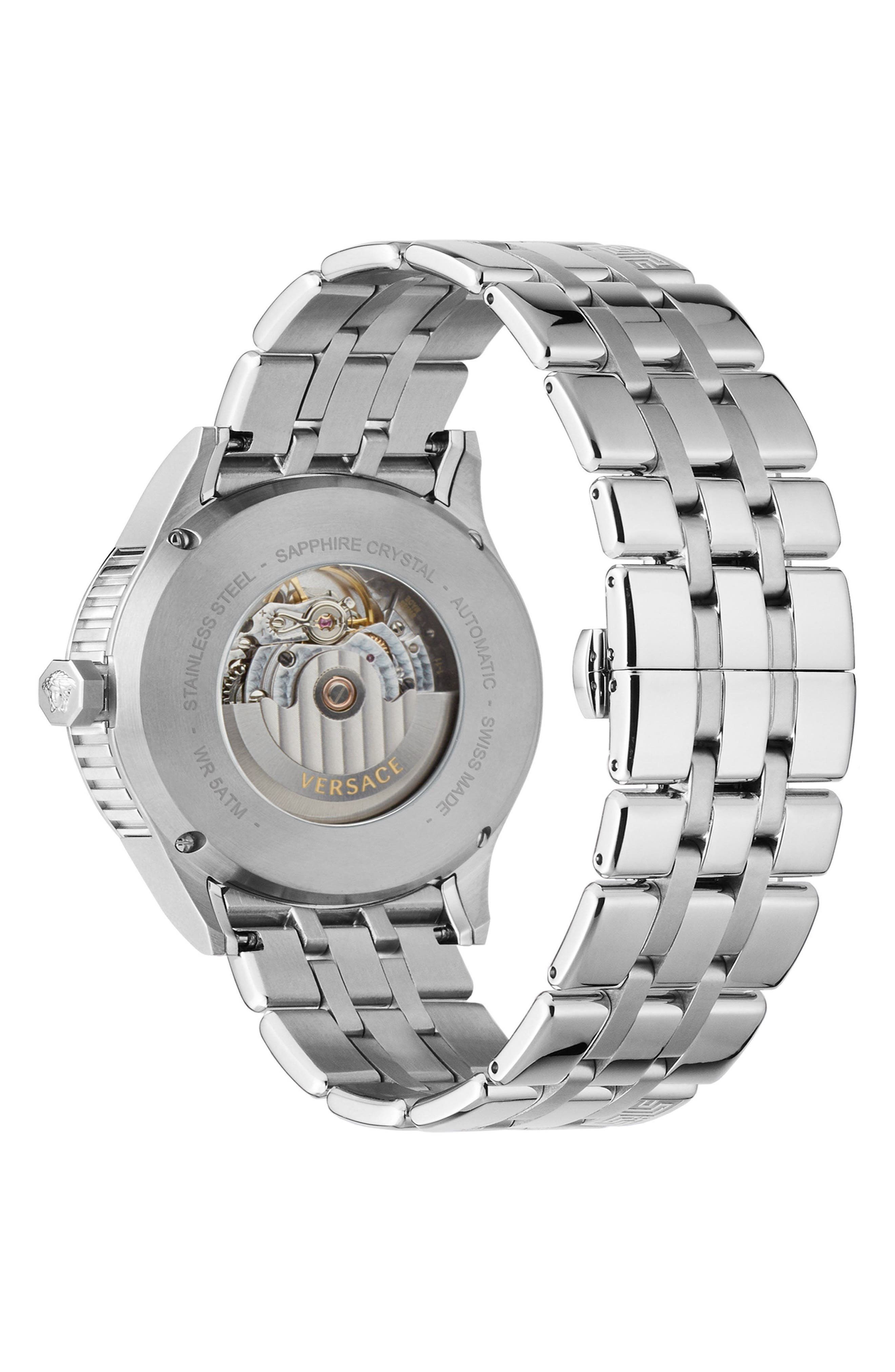 Aiakos Automatic Bracelet Watch, 44mm,                             Alternate thumbnail 2, color,                             SILVER