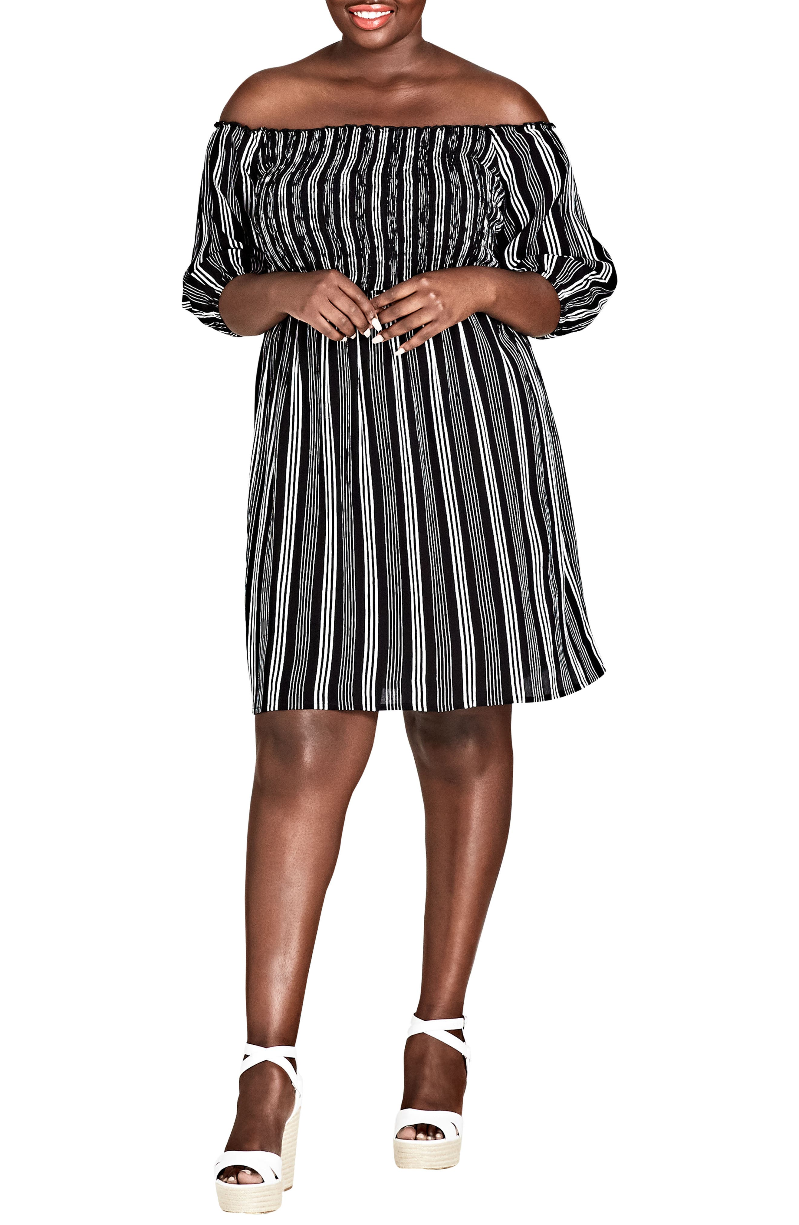 Stripe Play Off the Shoulder Dress,                             Main thumbnail 1, color,                             STRIPE PLAY