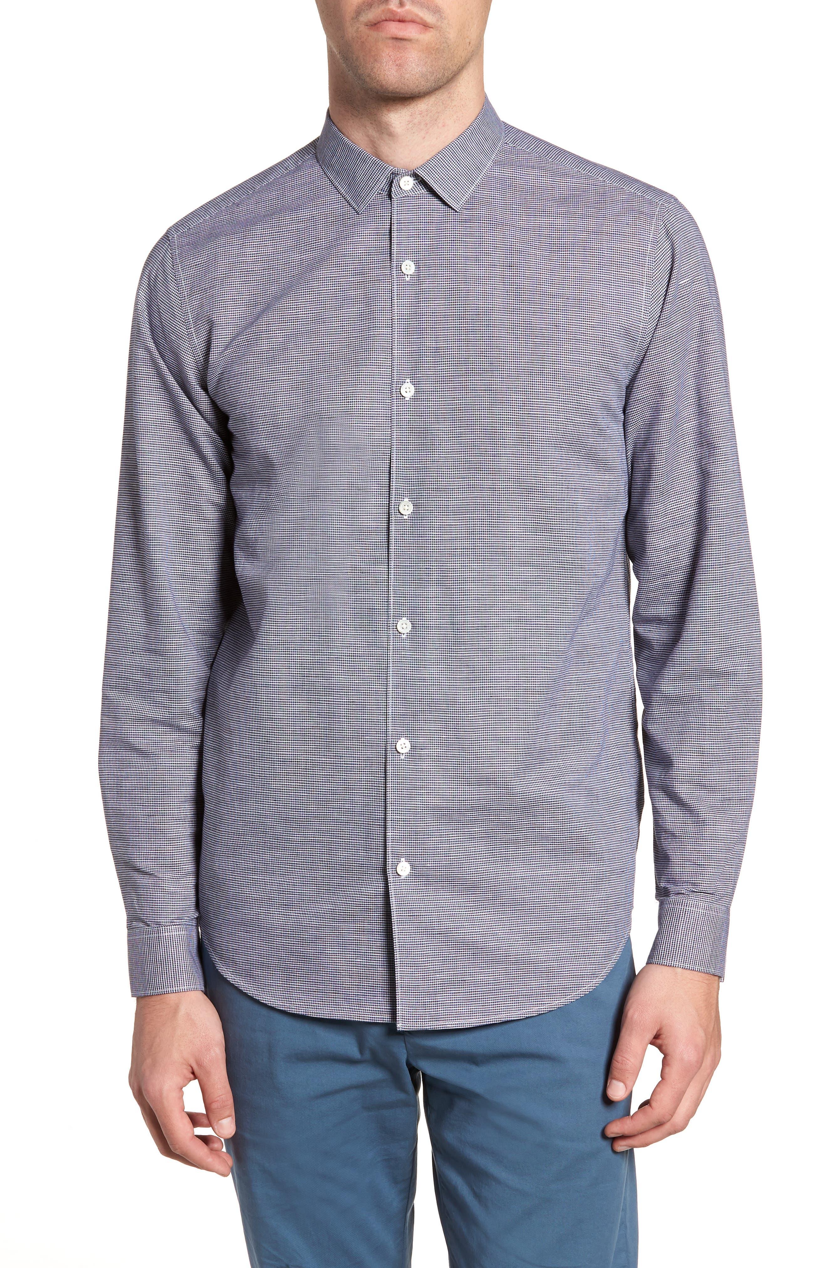 Murrary Trim Fit Check Linen & Cotton Sport Shirt,                         Main,                         color, 400