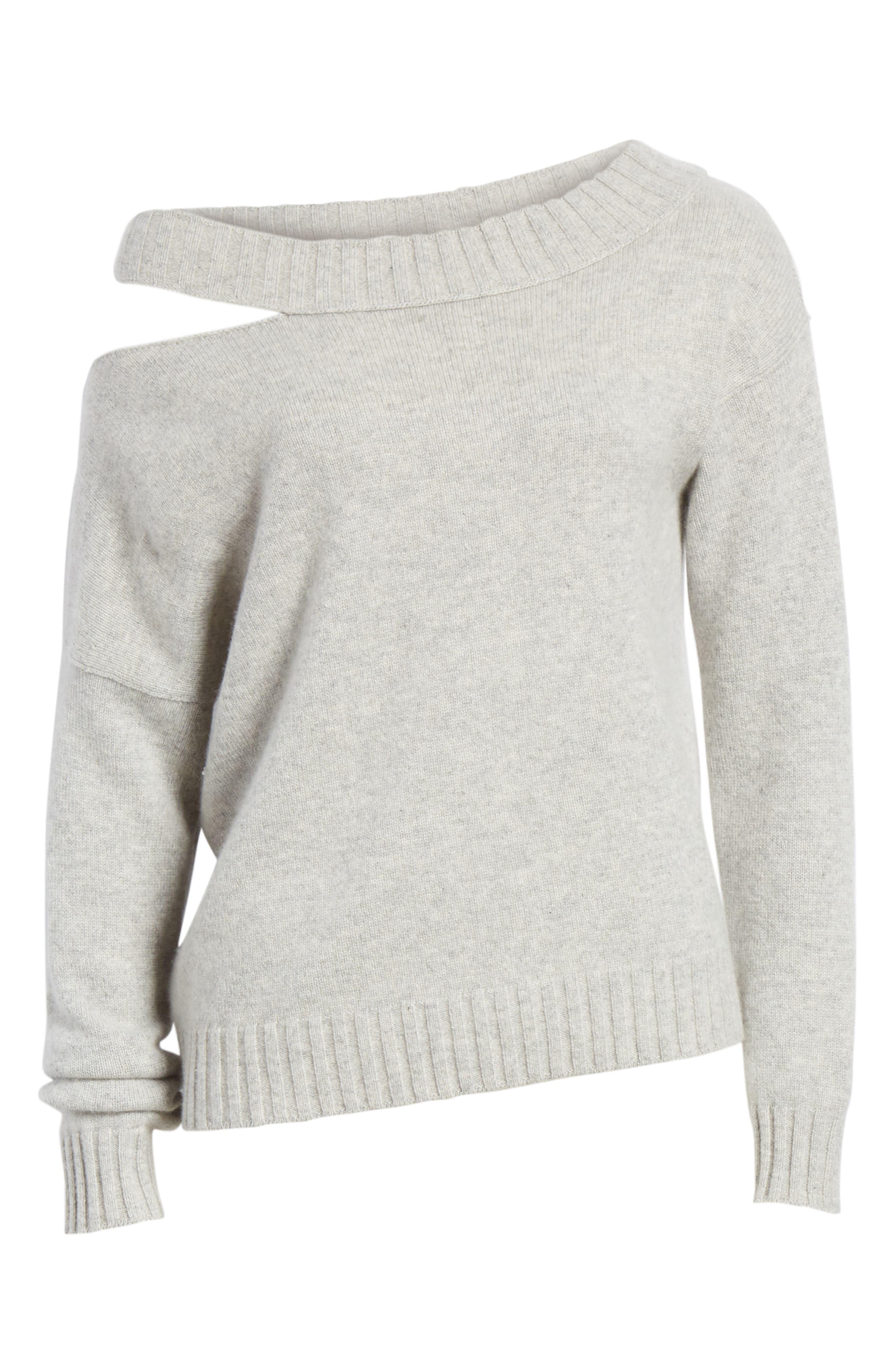 One Shoulder Slit Pullover Sweater,                             Alternate thumbnail 6, color,                             LIGHT HEATHER GREY